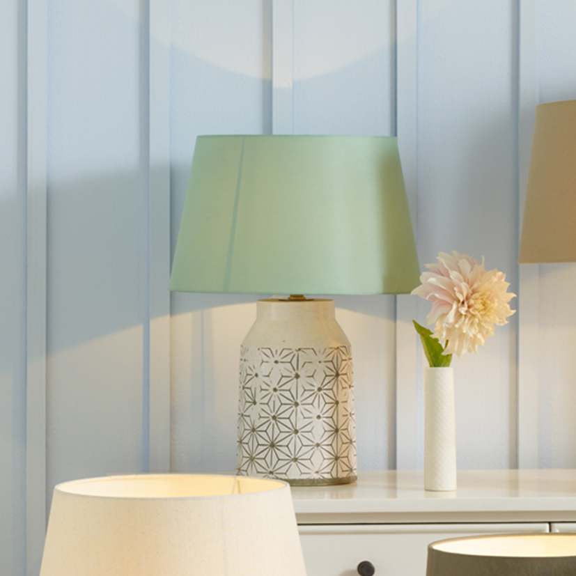 White Patterned Table Lamp with Geometric Patterned Etching