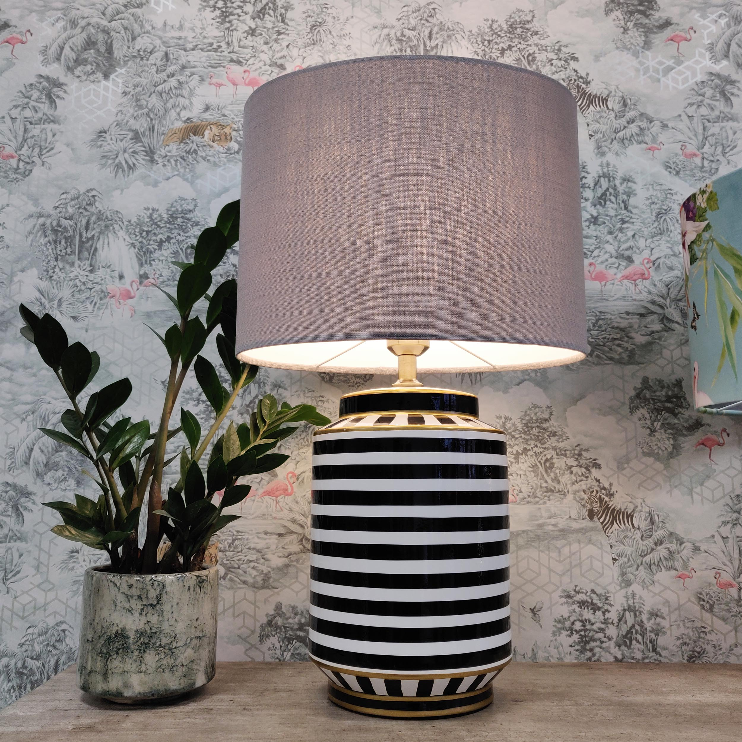 Tall Table Lamp in Black and White Stripes, Monochrome