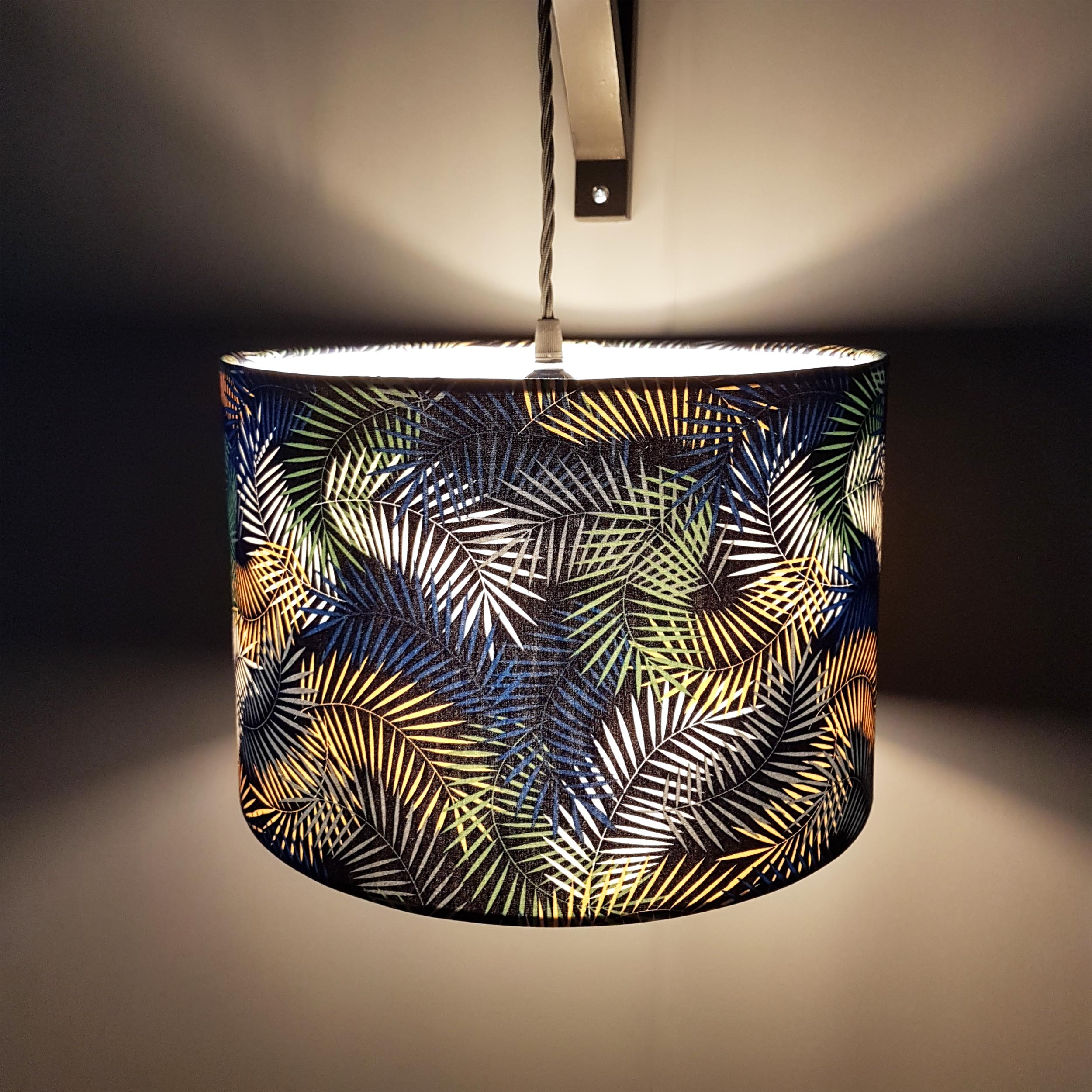 New Leaves Botanical Lampshade in Navy Blue