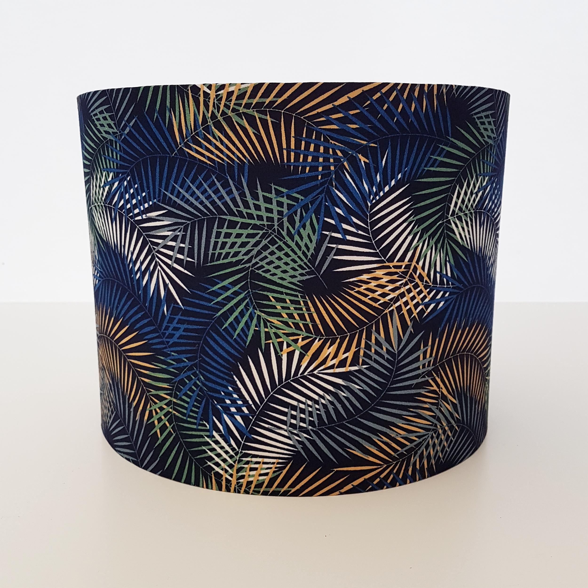 Leaves Lampshade in a Navy Blue Colourway, Cotton