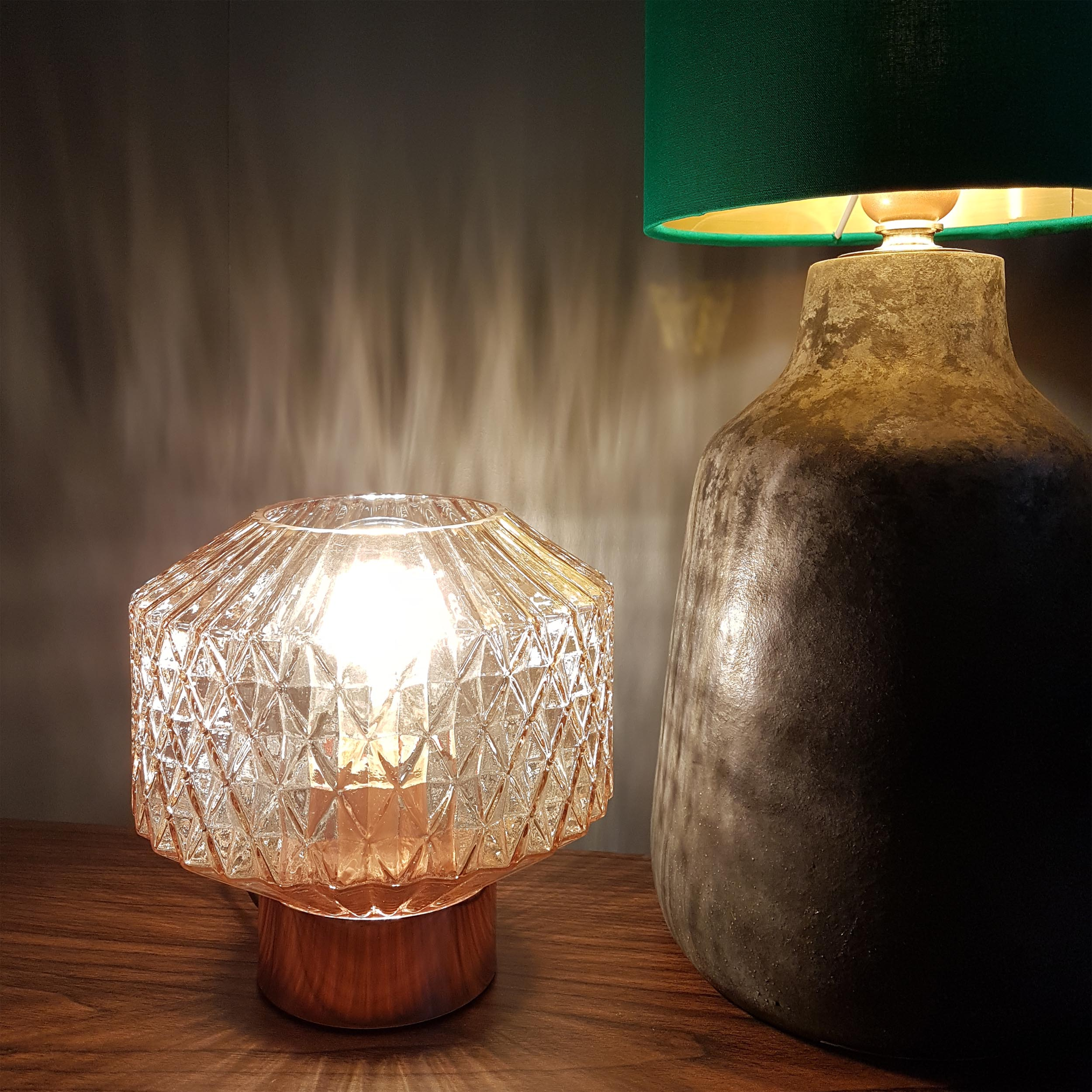 Copper and Glass Table Lamp