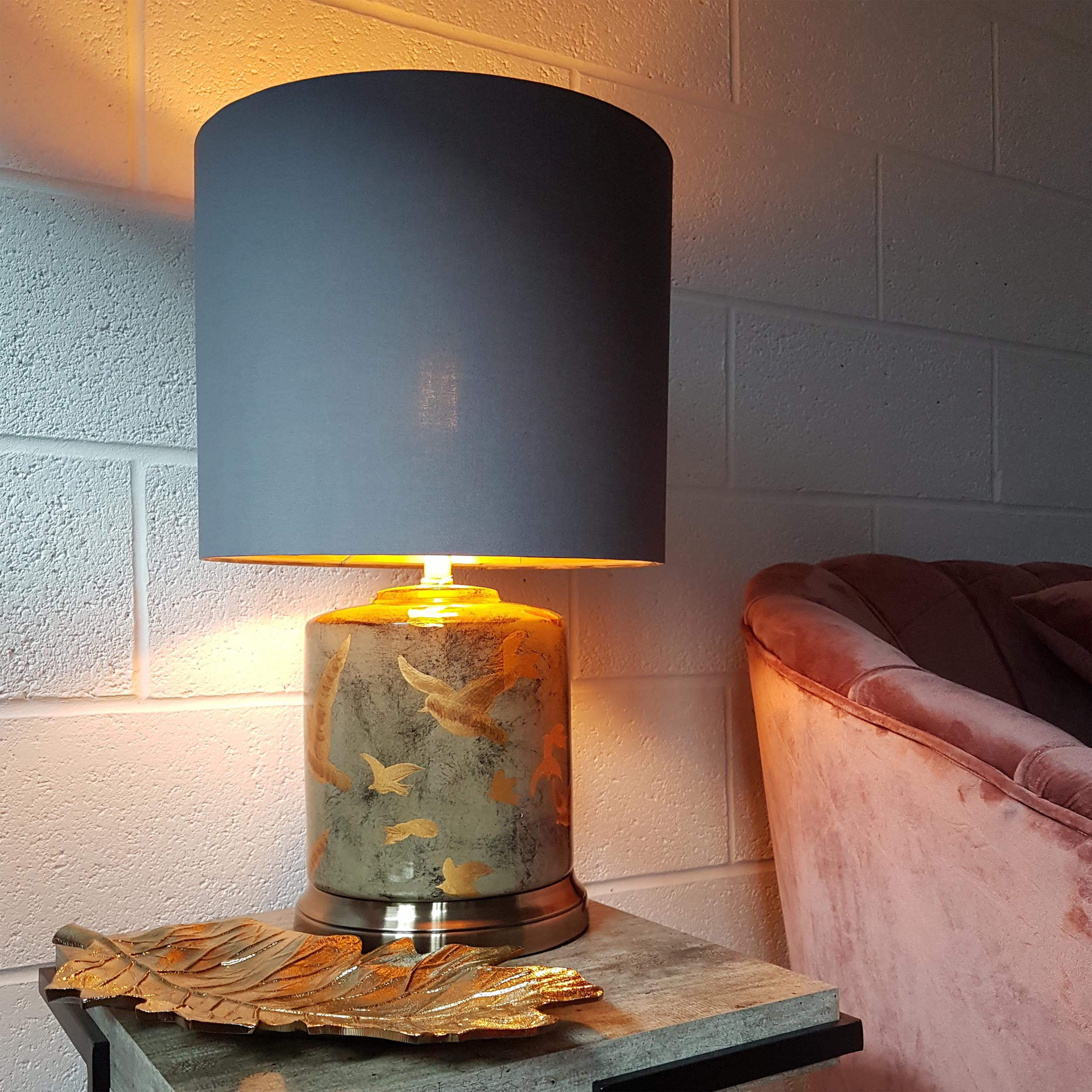 Large Birds Table Lamp in Grey and Gold