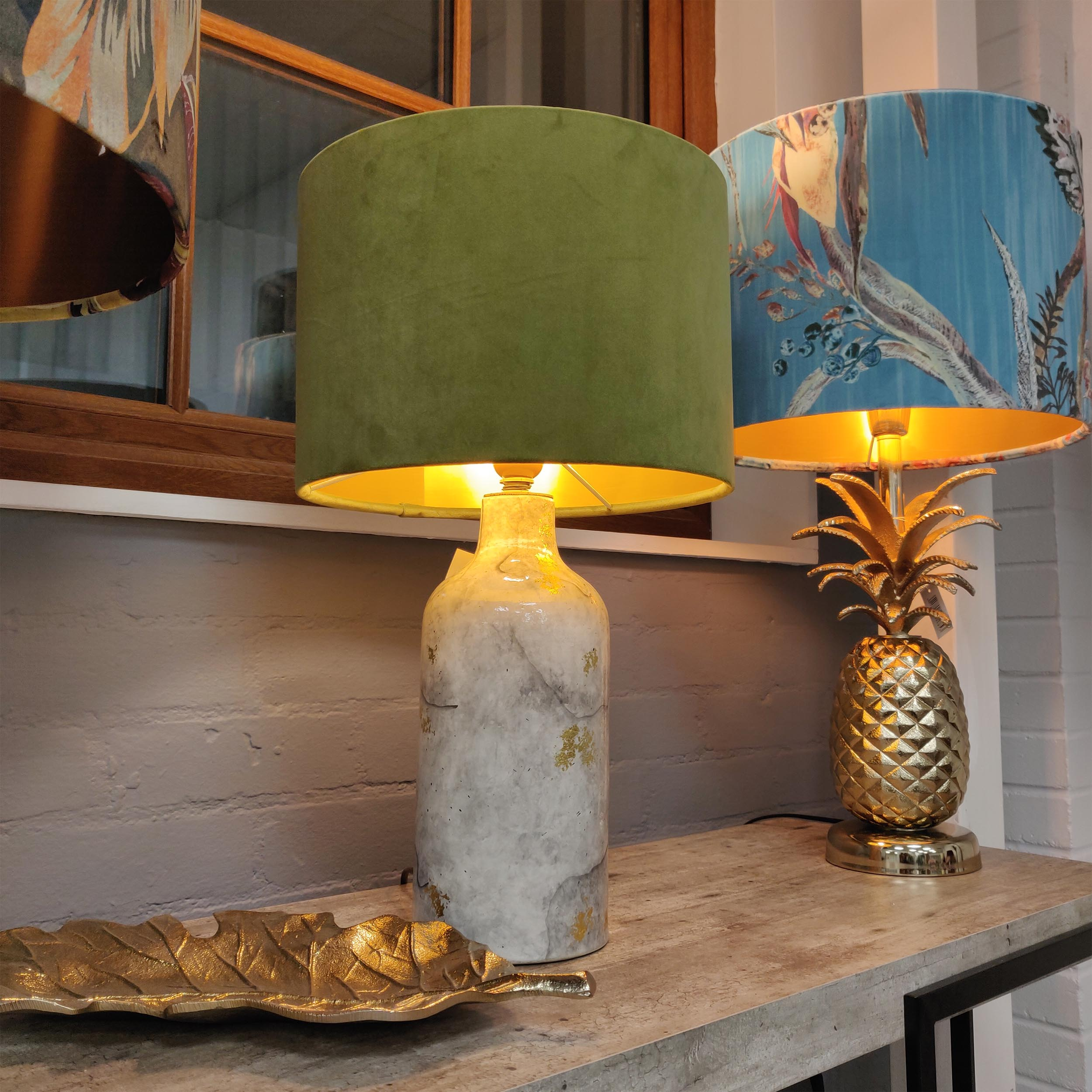 Olive Green Velvet and Gold Lined Lampshade