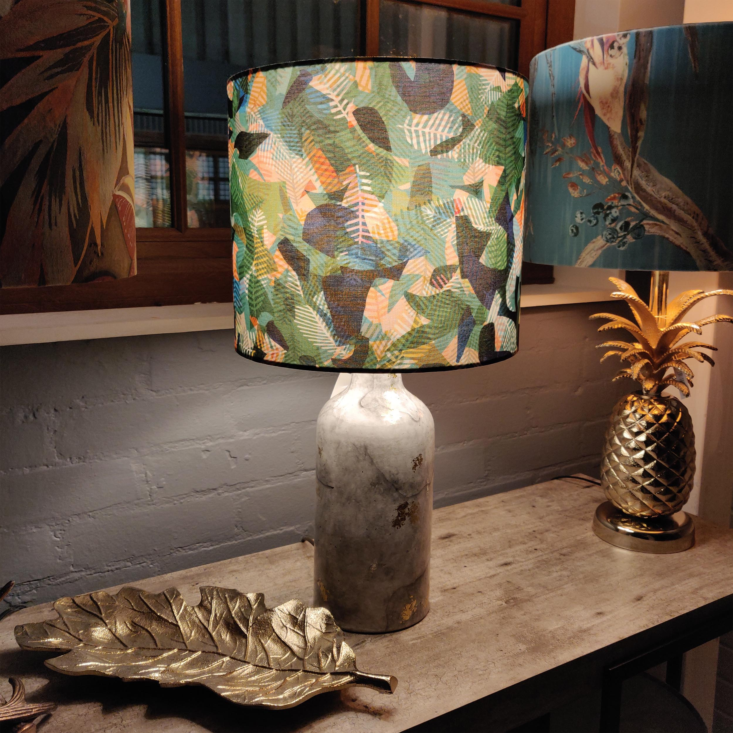 Green Geometric Lampshade, Paper Jungle