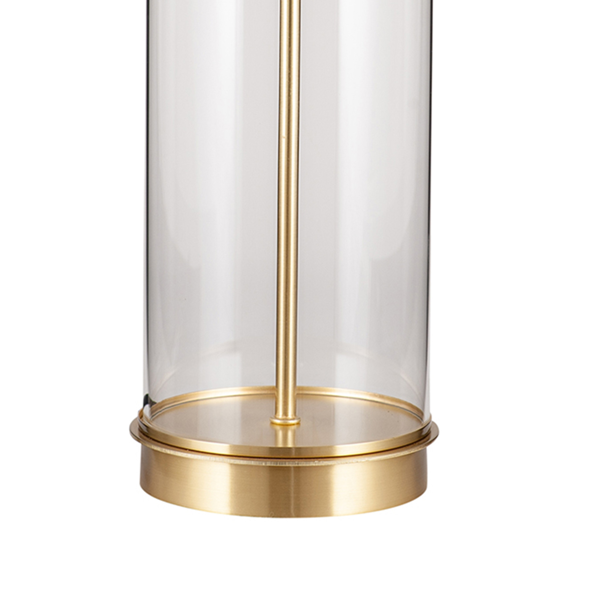 Clear Glass and Gold Metal Table Lamp