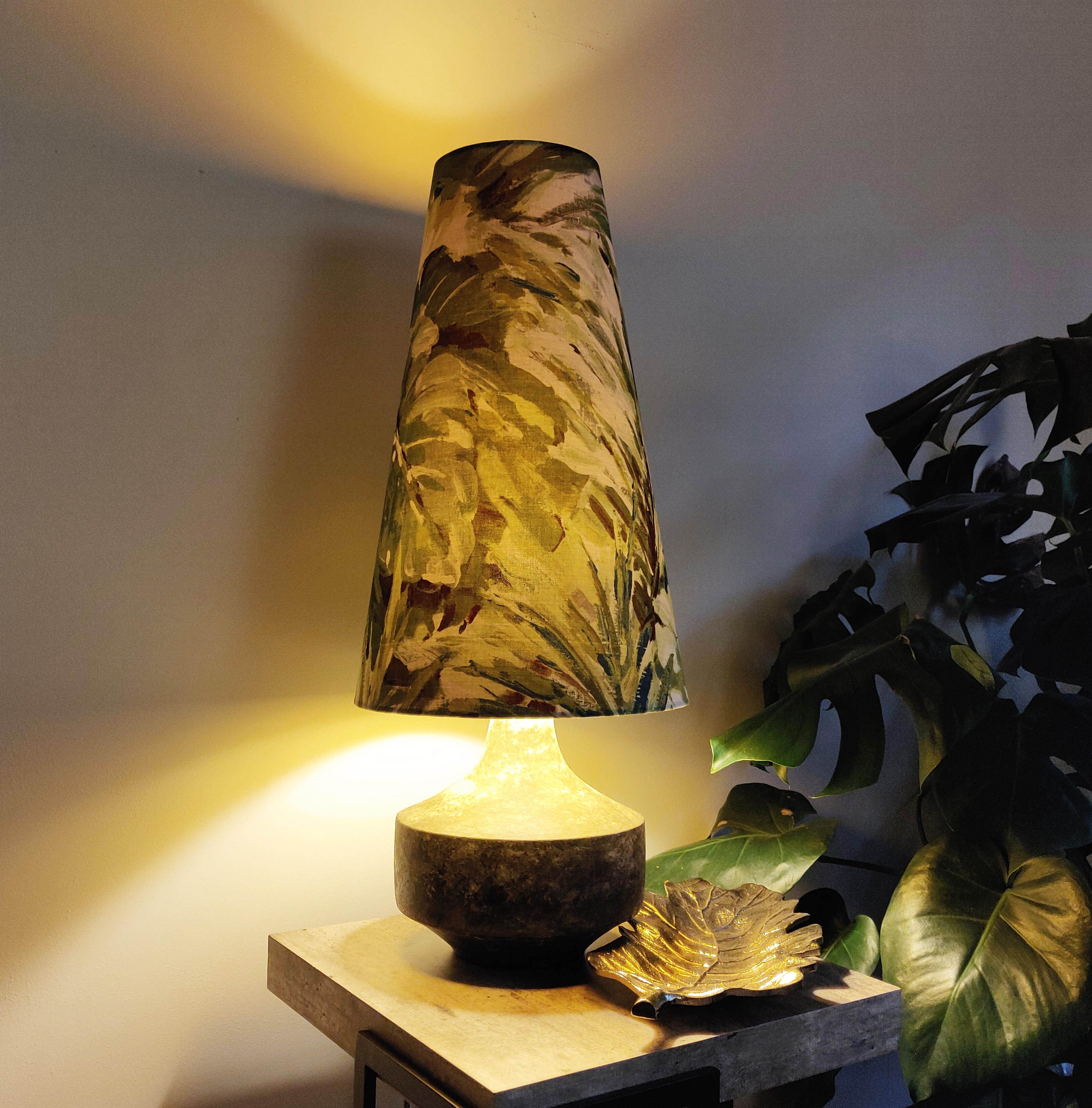 Tall Cone Lampshade in Botanical Leaves
