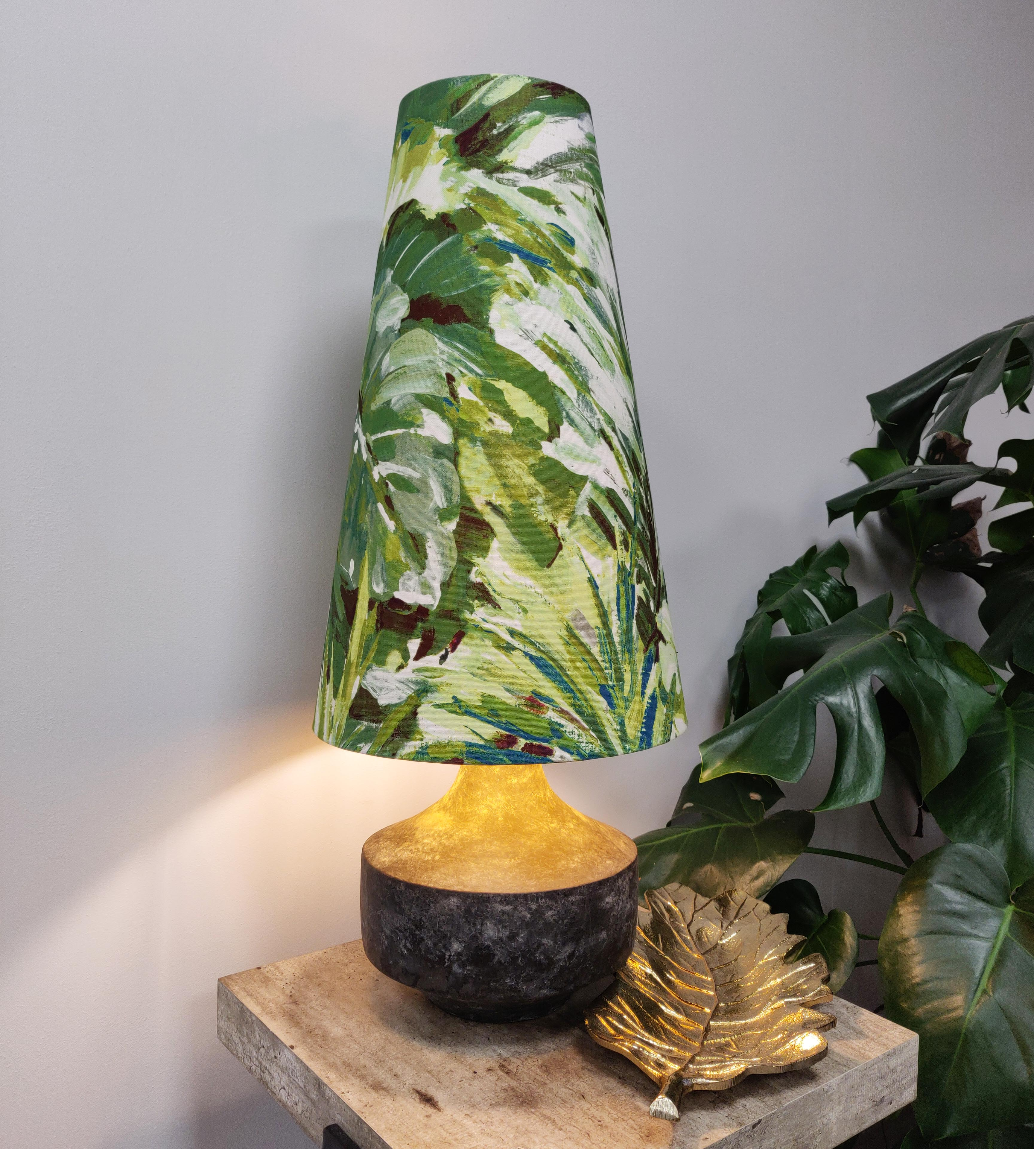 Extra Tall Tropical Lampshade in a Conical Cone Design