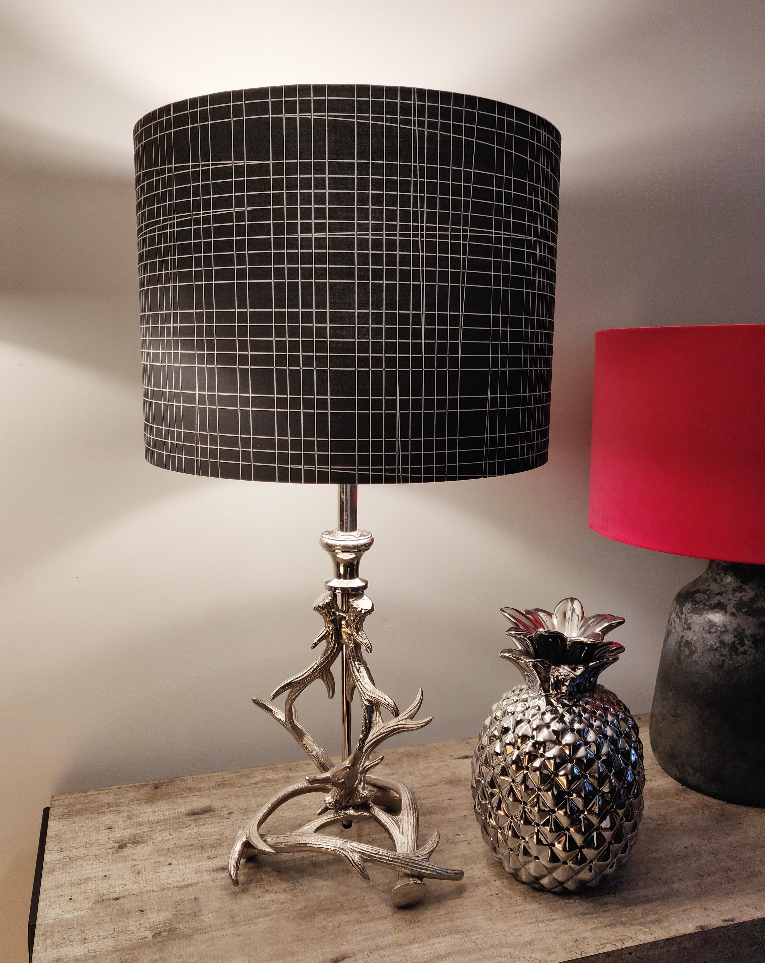 Dark Grey Cotton and Metallic Silver Geometric Lampshade