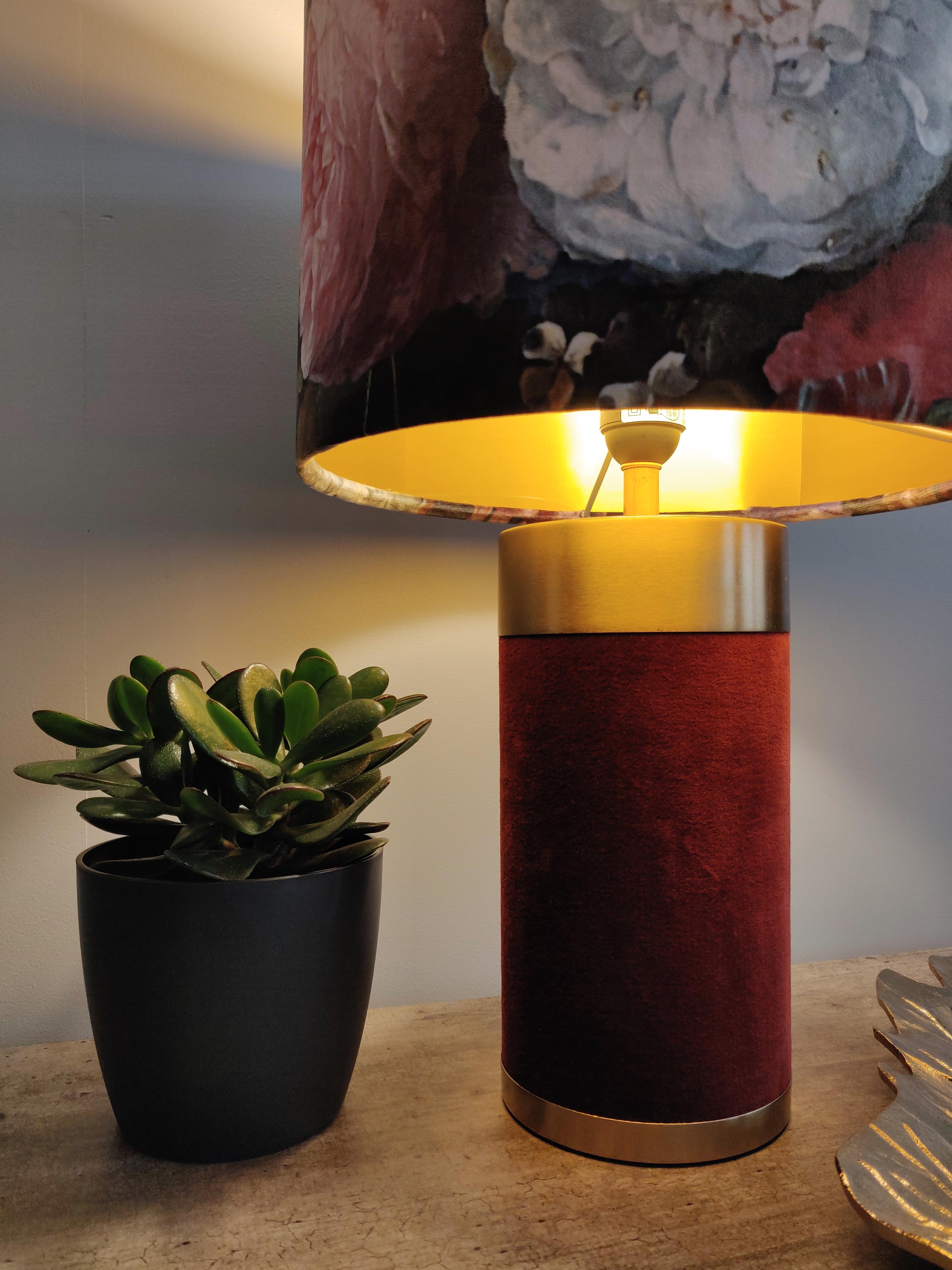Deep Red Lamp in Soft Velvet