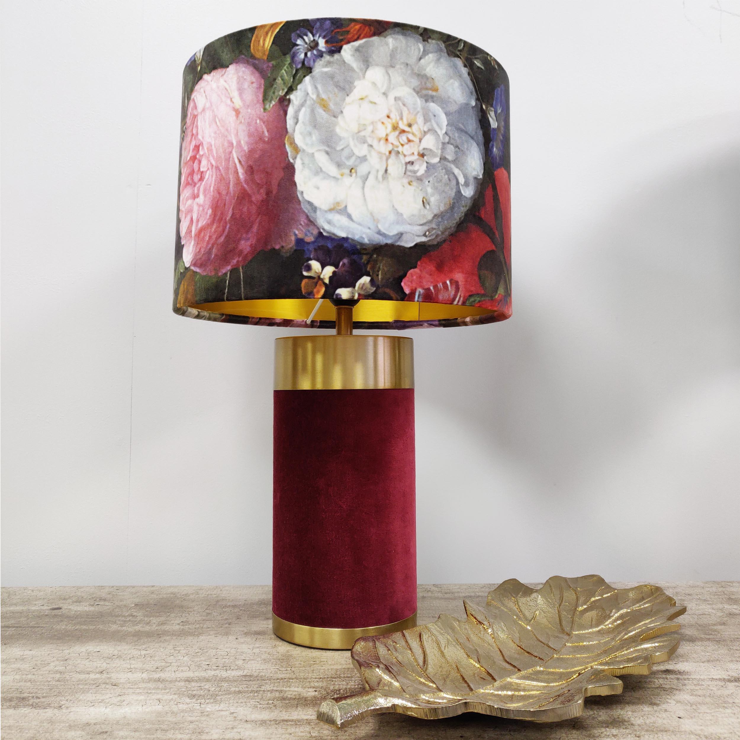Red Velvet Table Lamp