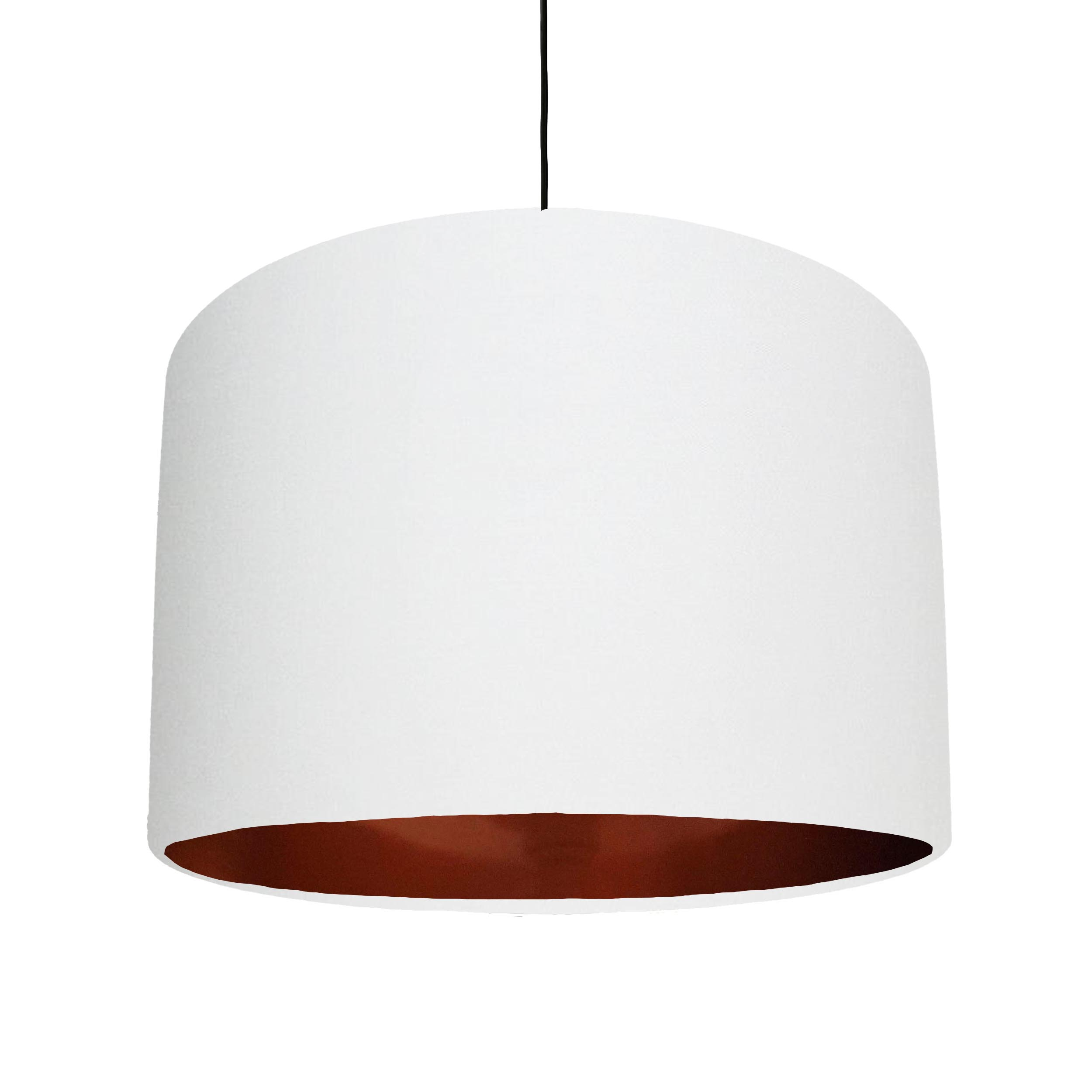 White Cotton Lampshade with a metallic brushed copper lining