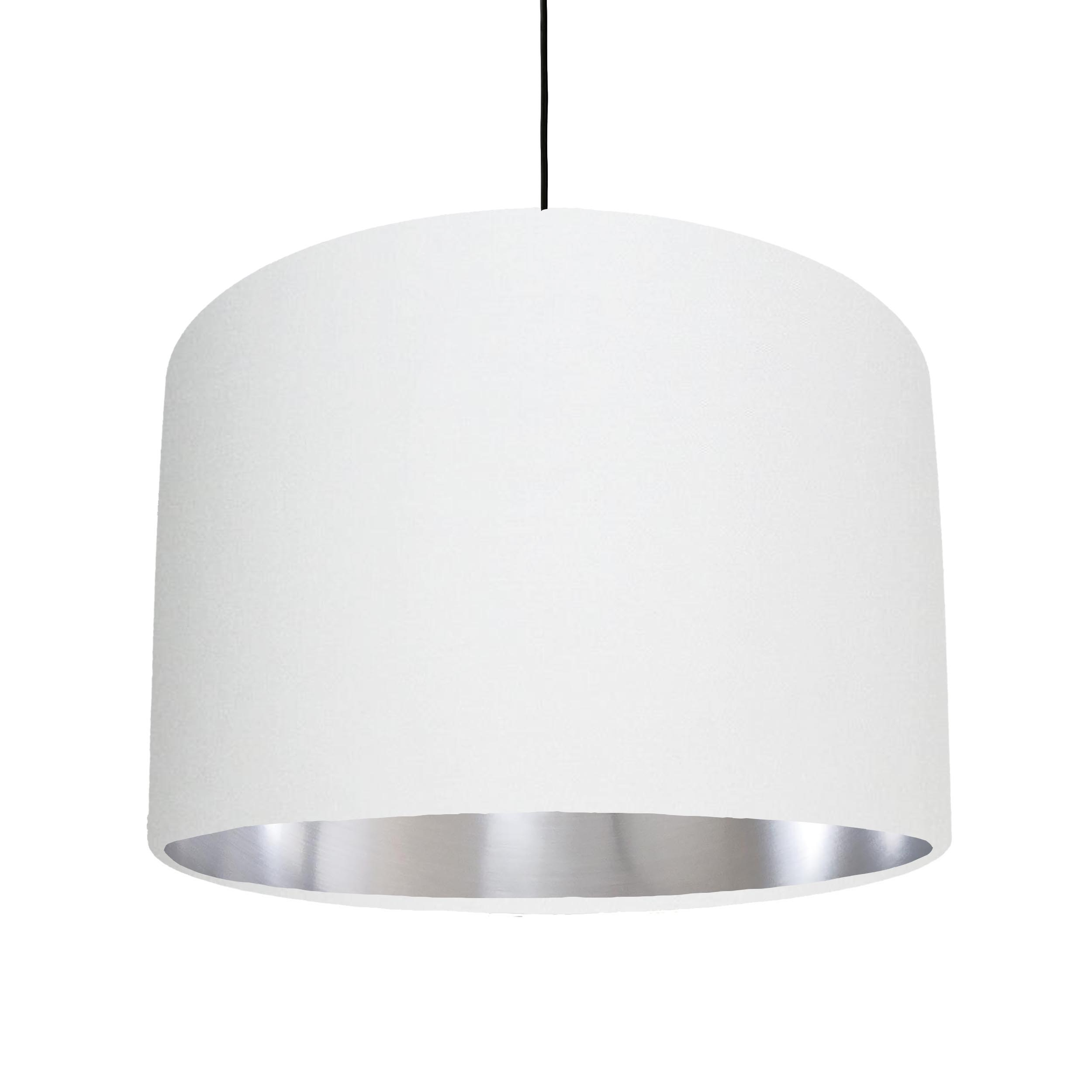 White Cotton Lampshade with a metallic brushed silver lining