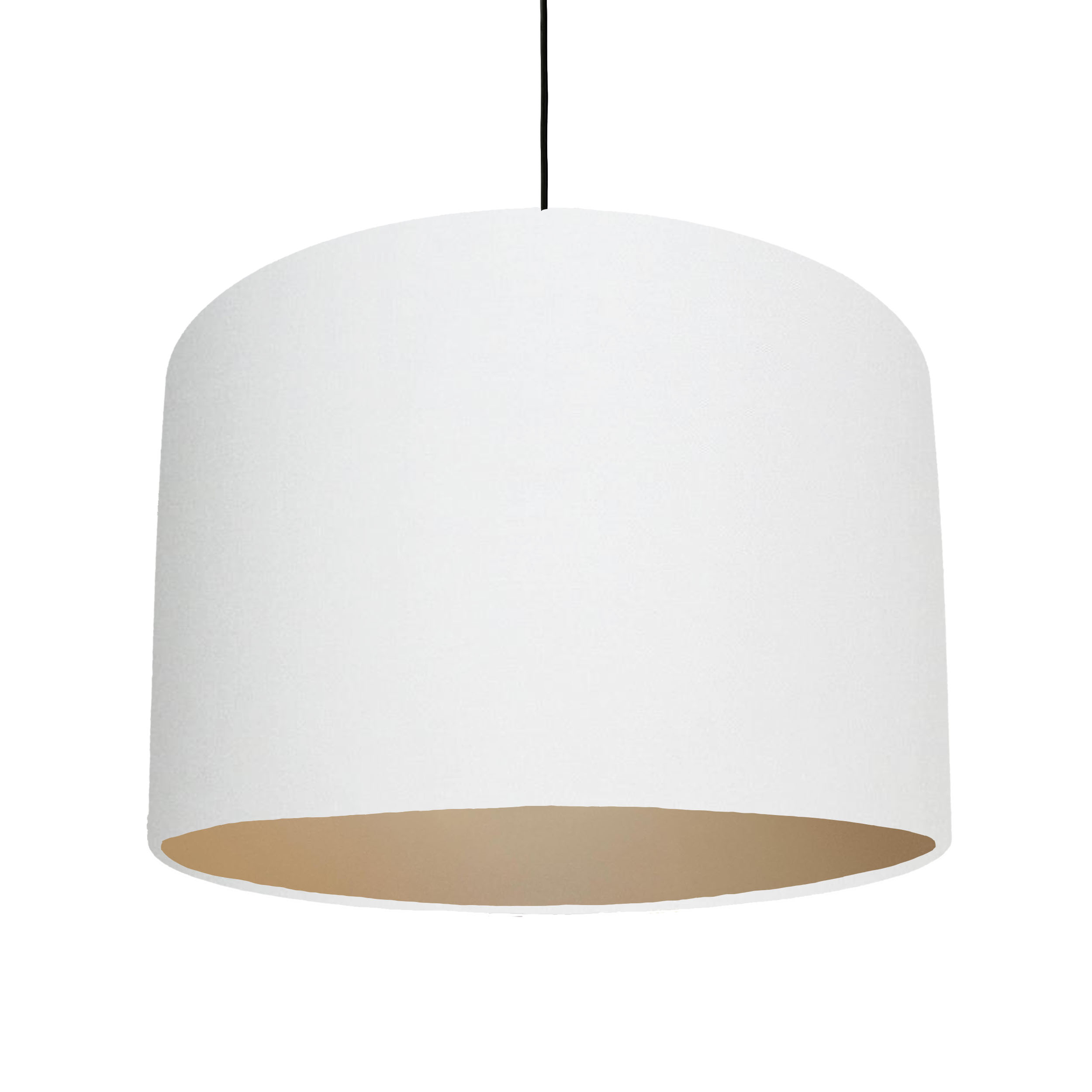 White Cotton Lampshade with a metallic champagne lining