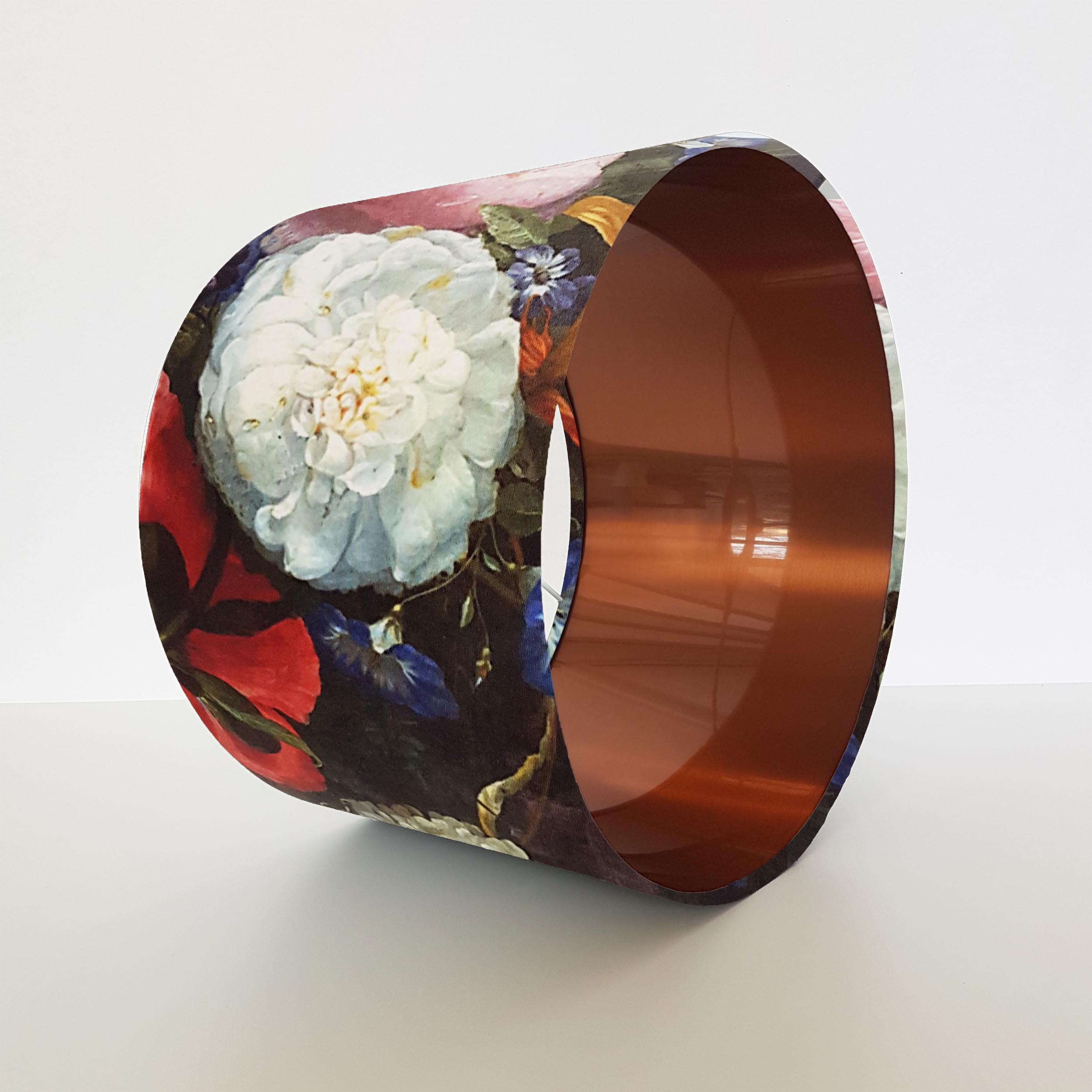 Floral Velvet Lampshade with Brushed Copper Lining