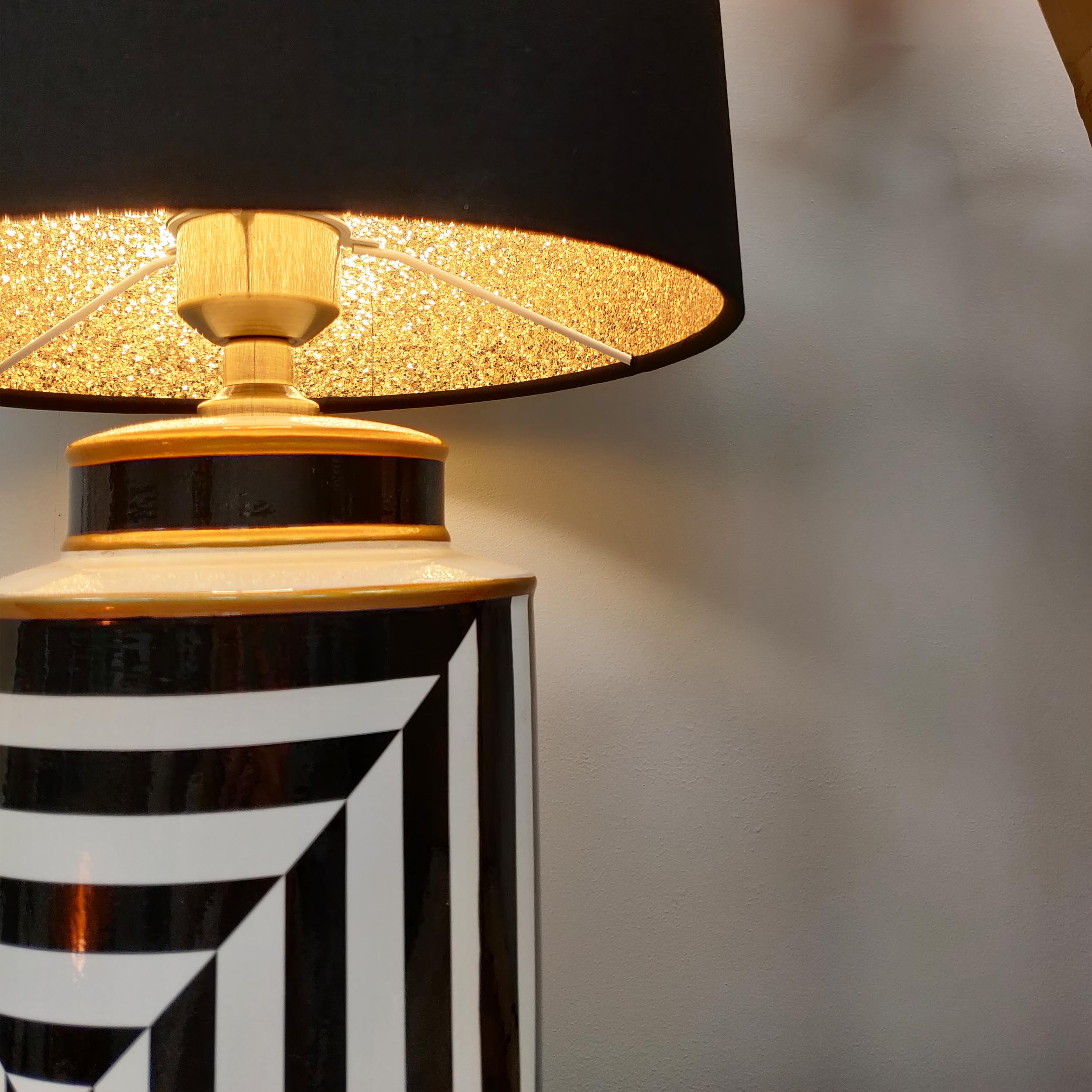 Monochrome Striped Table Lamp with Gold accents