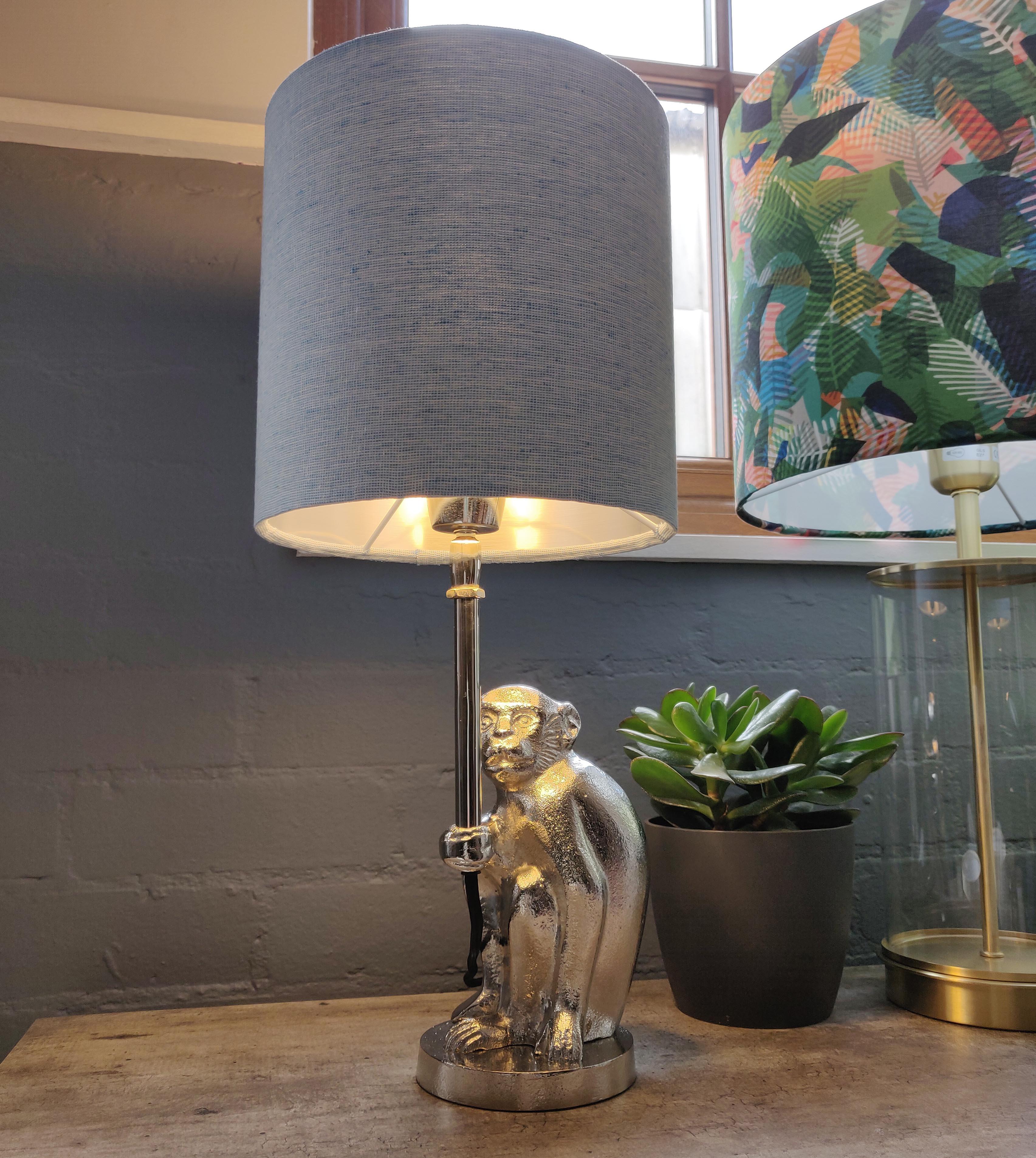 Silver Monkey Table Lamp