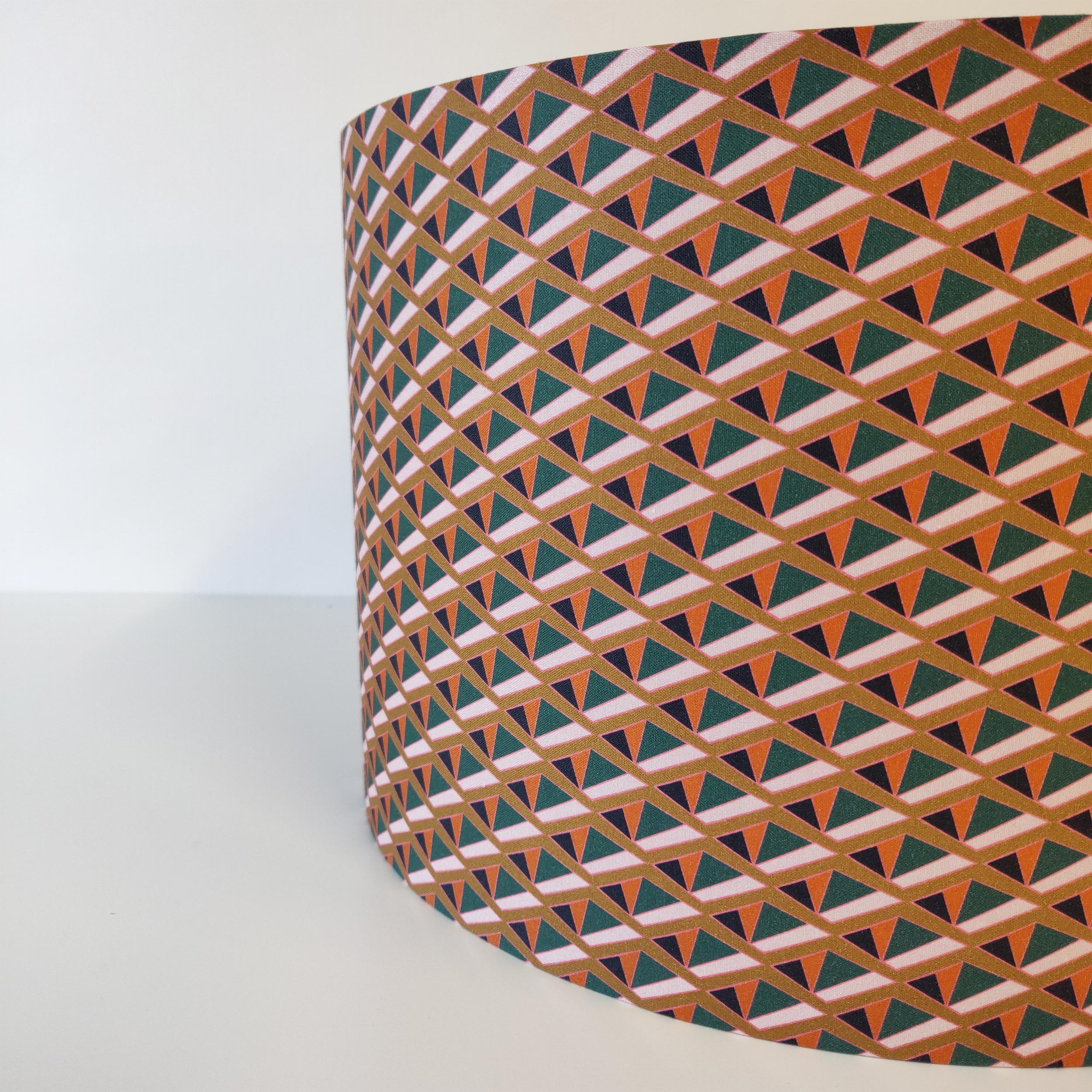 Tiger Lily Geometric Cotton Lampshade with a Brushed Silver Lining