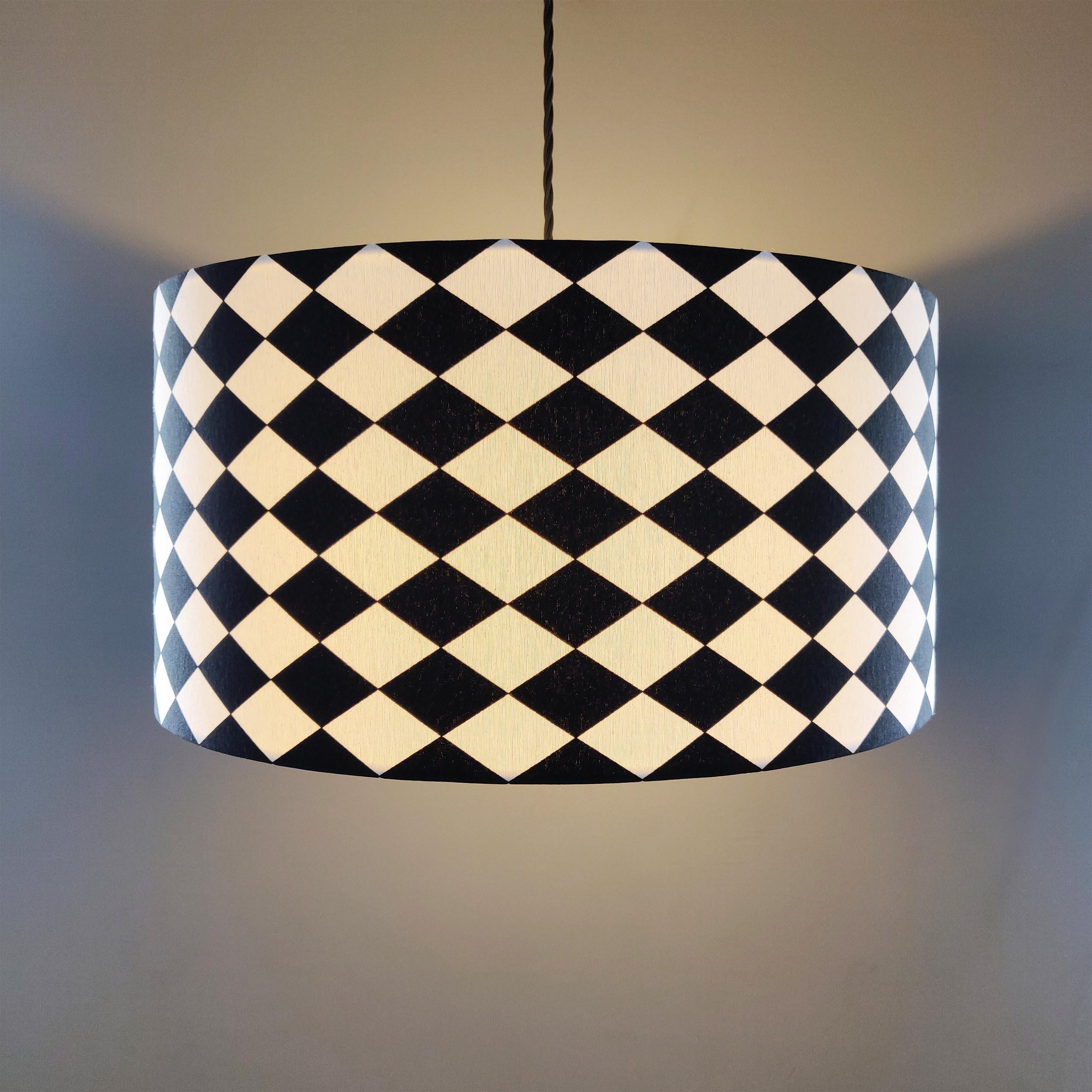 Black and White Geometric Hanging Lampshade