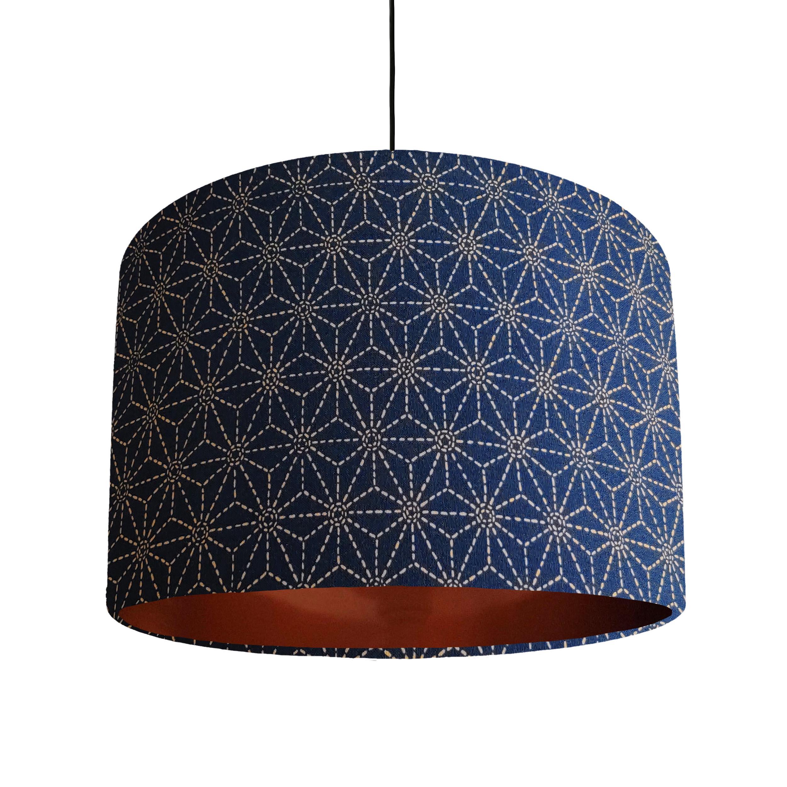 Indigo Blue Kasuri Lampshade with a Brushed Copper Lining
