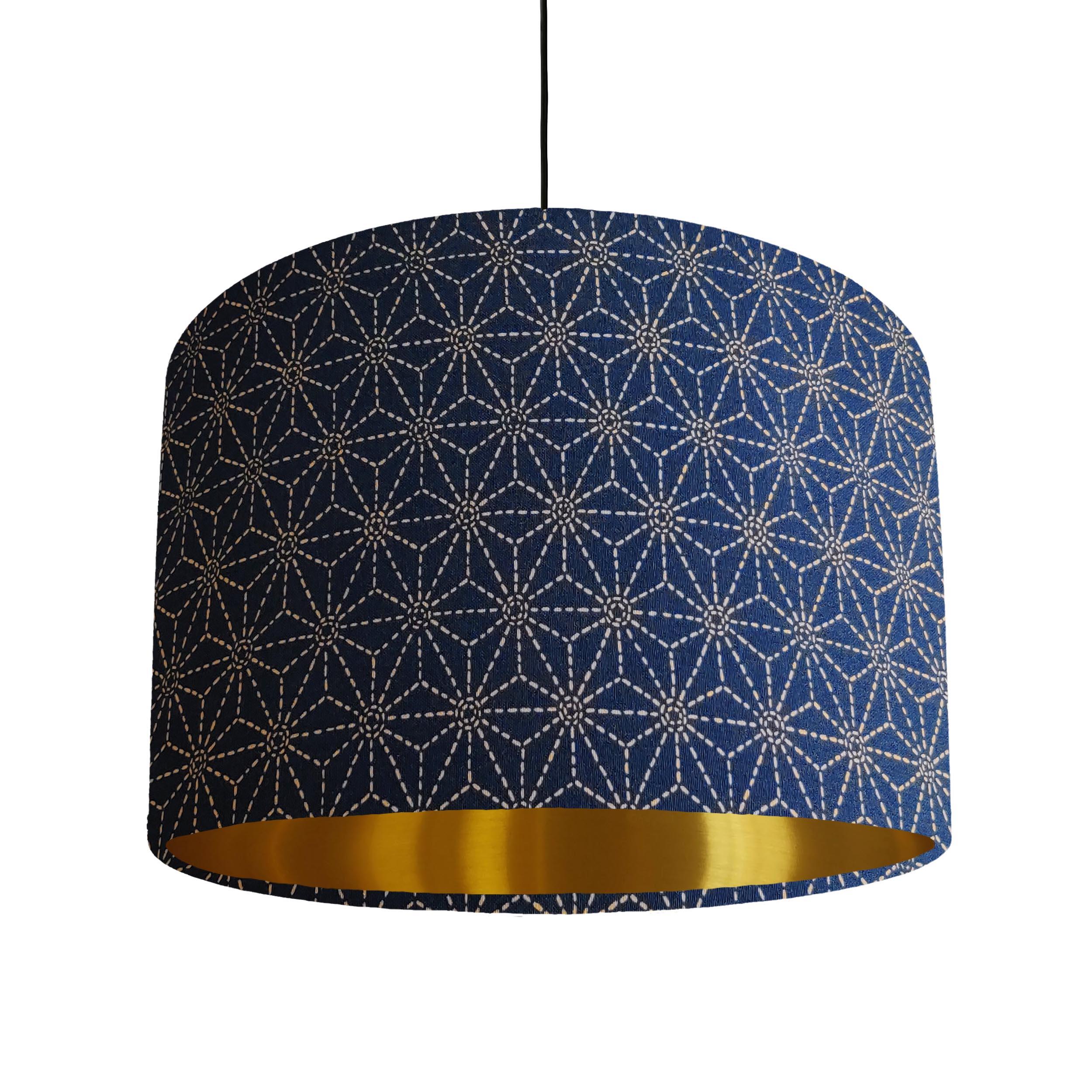 Indigo Kasuri Lampshade with a Brushed Gold Lining