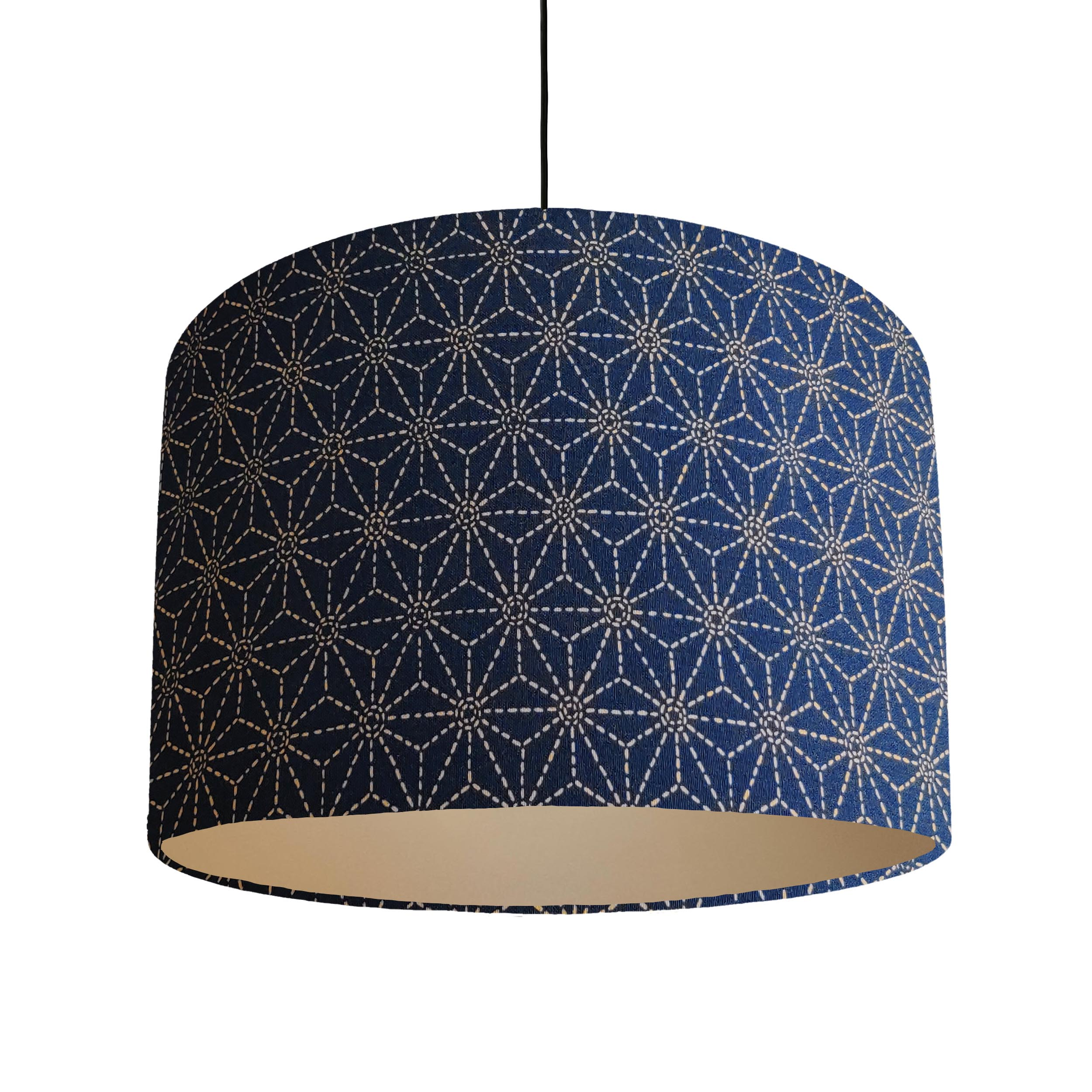 Indigo Blue Kasuri Lampshade with a Brushed Silver Lining