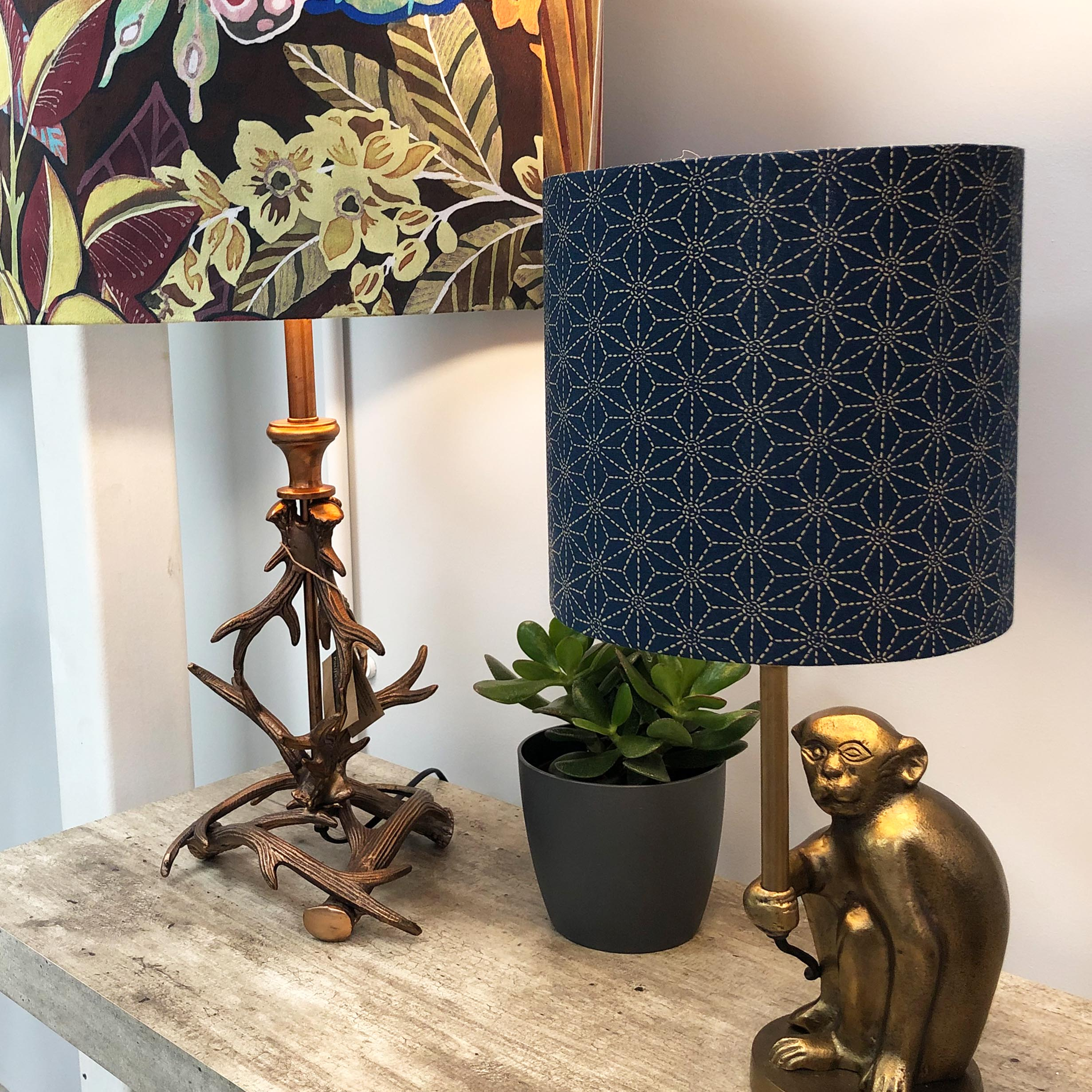 Blue Kasuri Lampshade pictured with Monkey Lamp Base