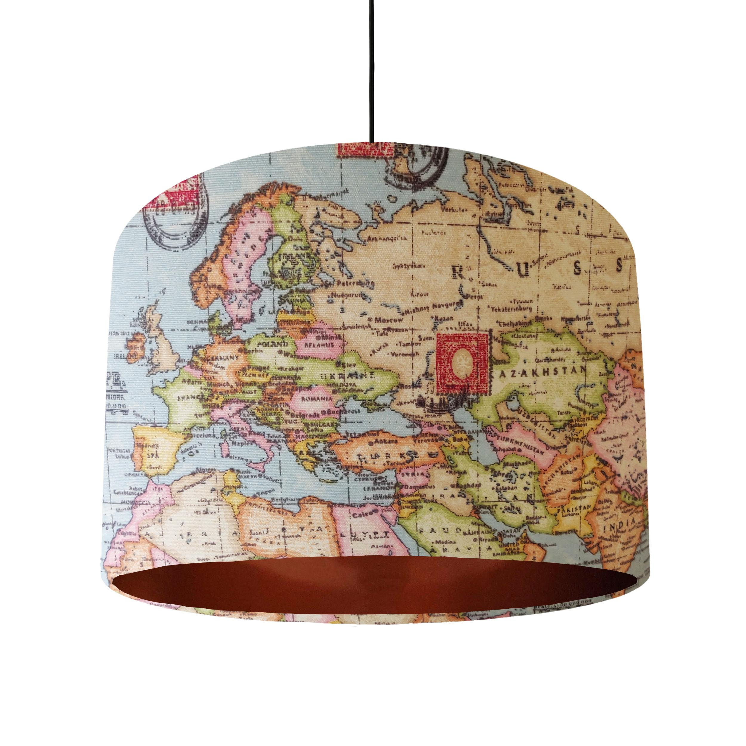 World Map Lampshade with Copper Lining
