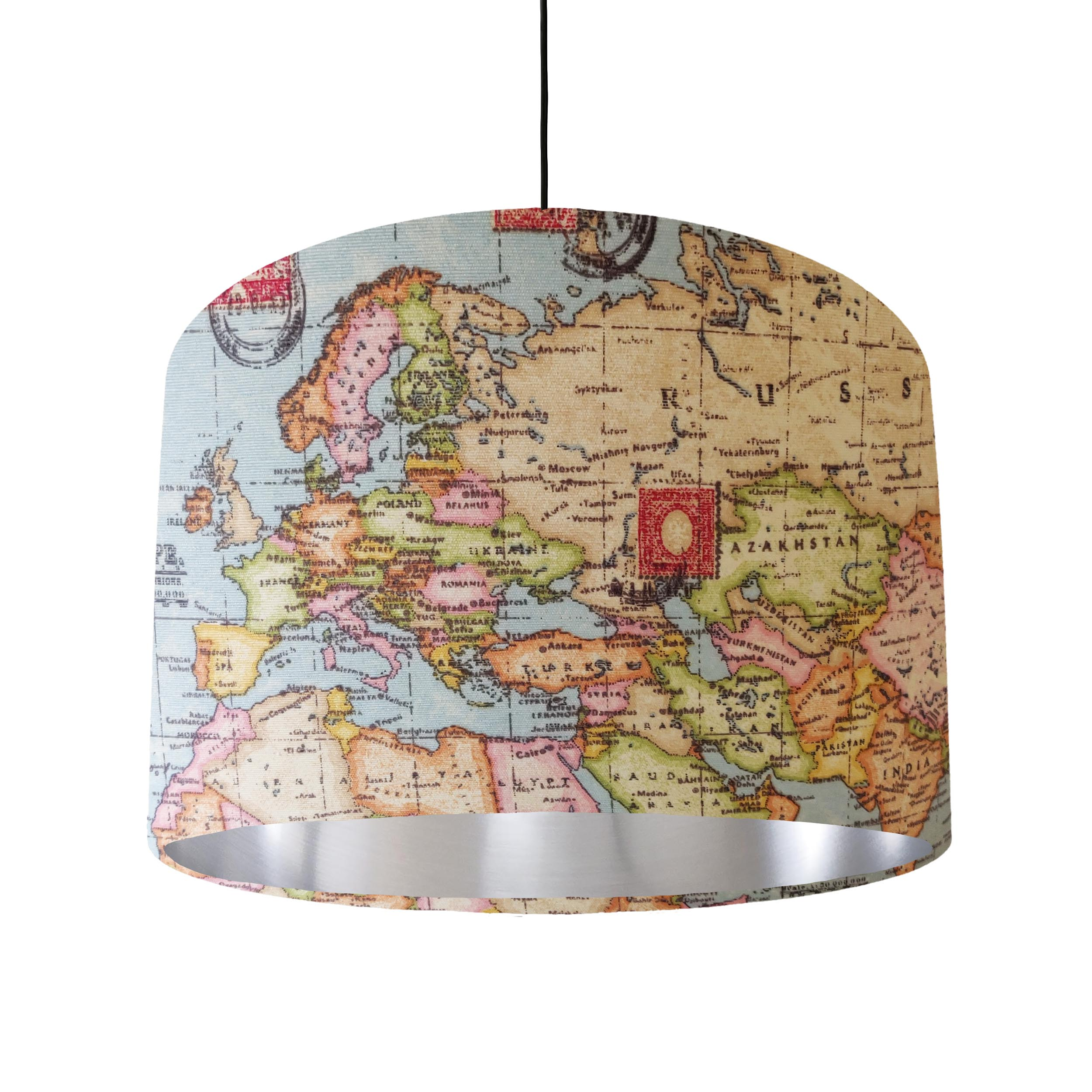 World Map Lampshade with Silver Lining