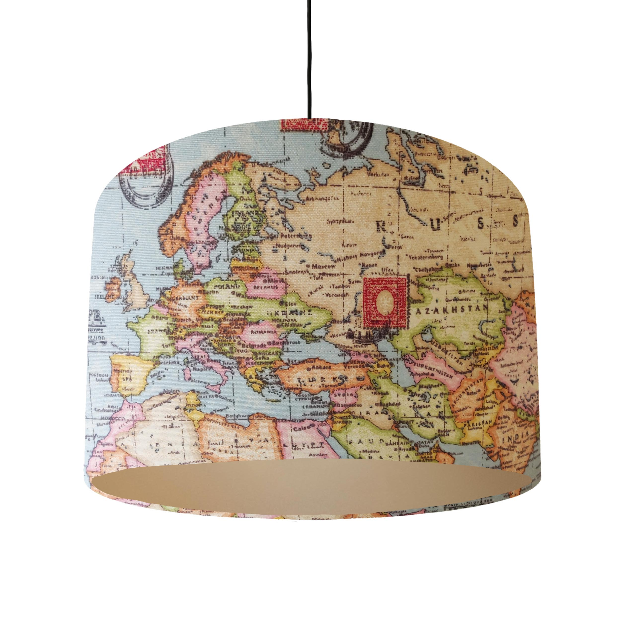 World Map Lampshade with a champagne Lining