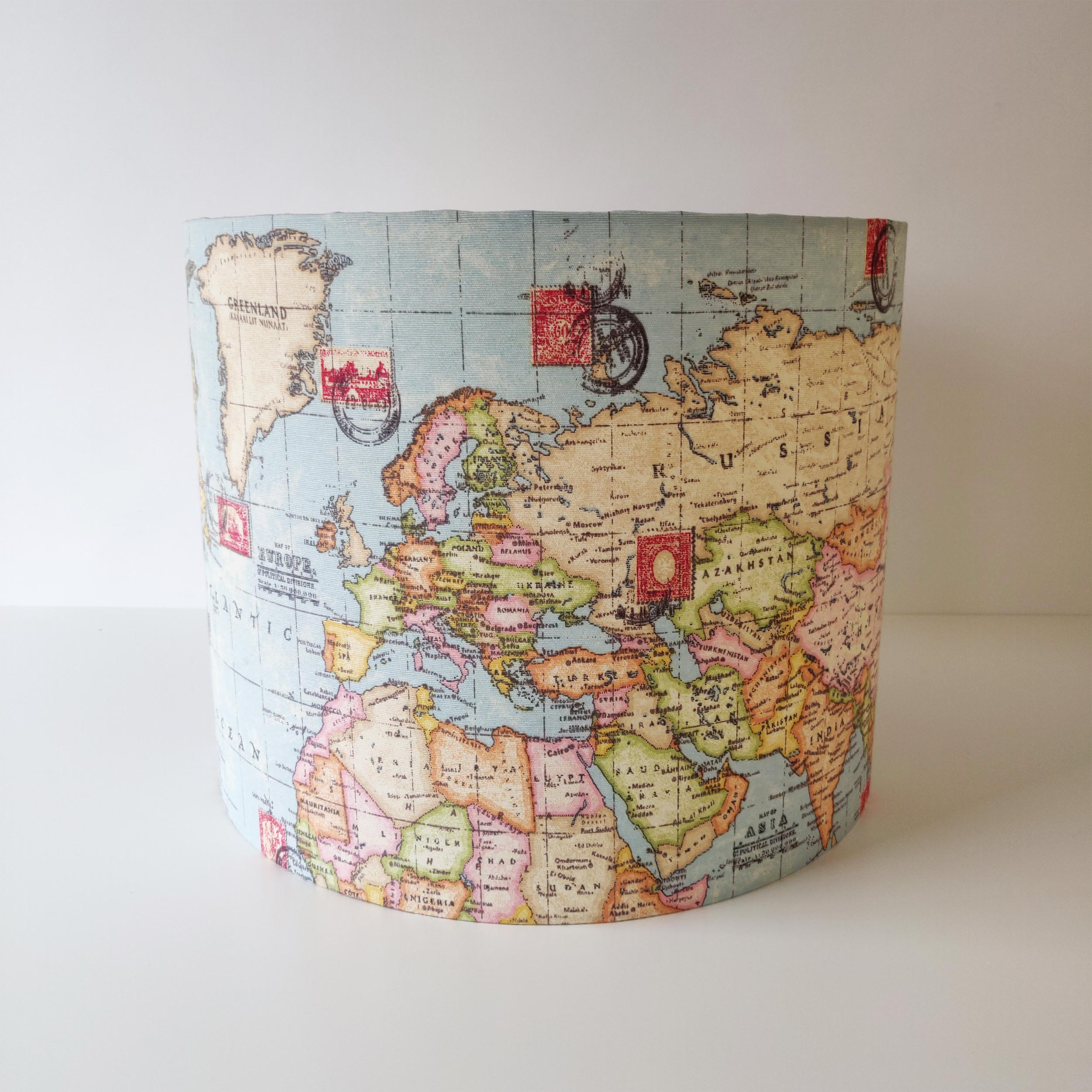 Map Lamp Shade with Champagne Liner