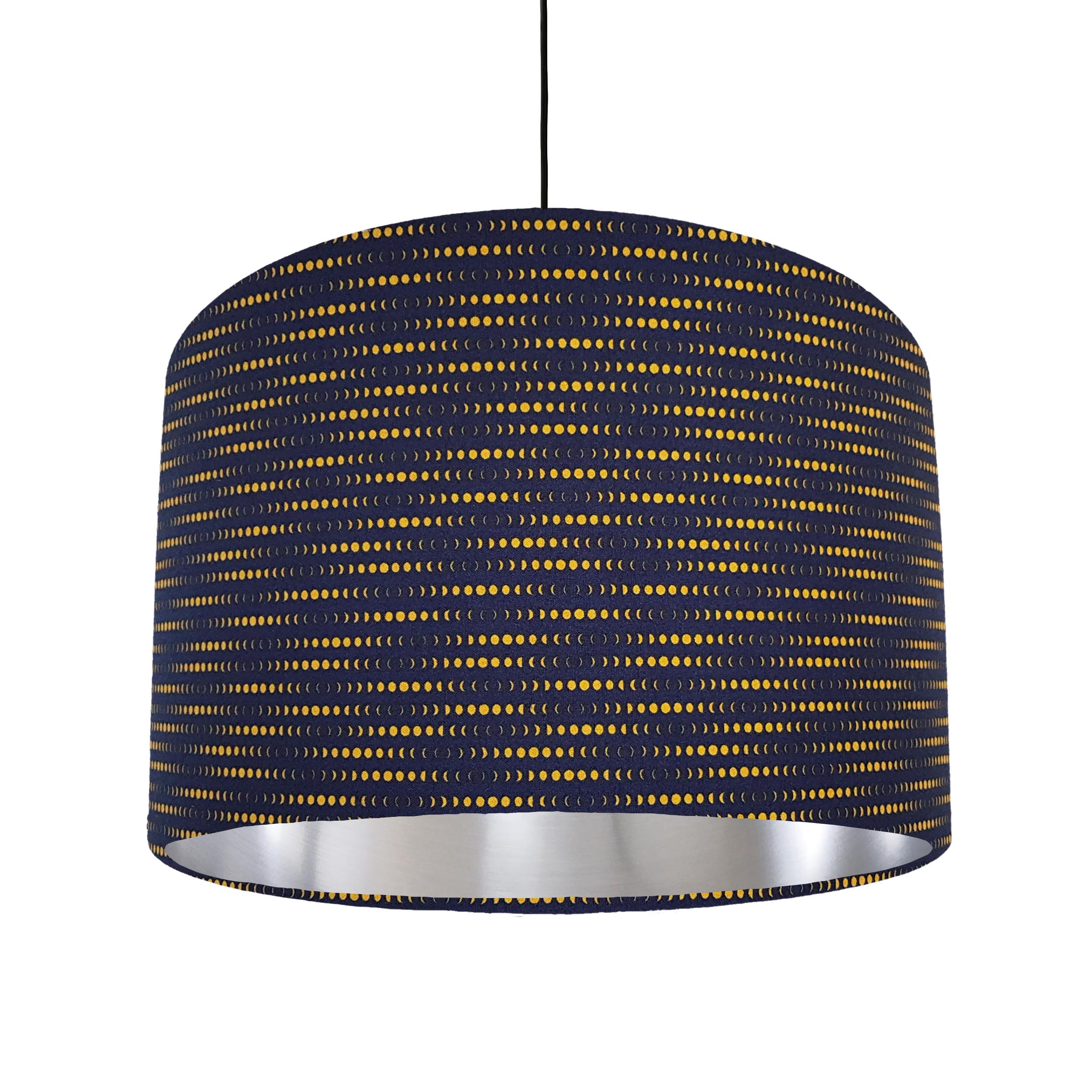 Navy Blue and Mustard Lampshade in a Moon Rabbit Cotton Fabric with Silver Lining