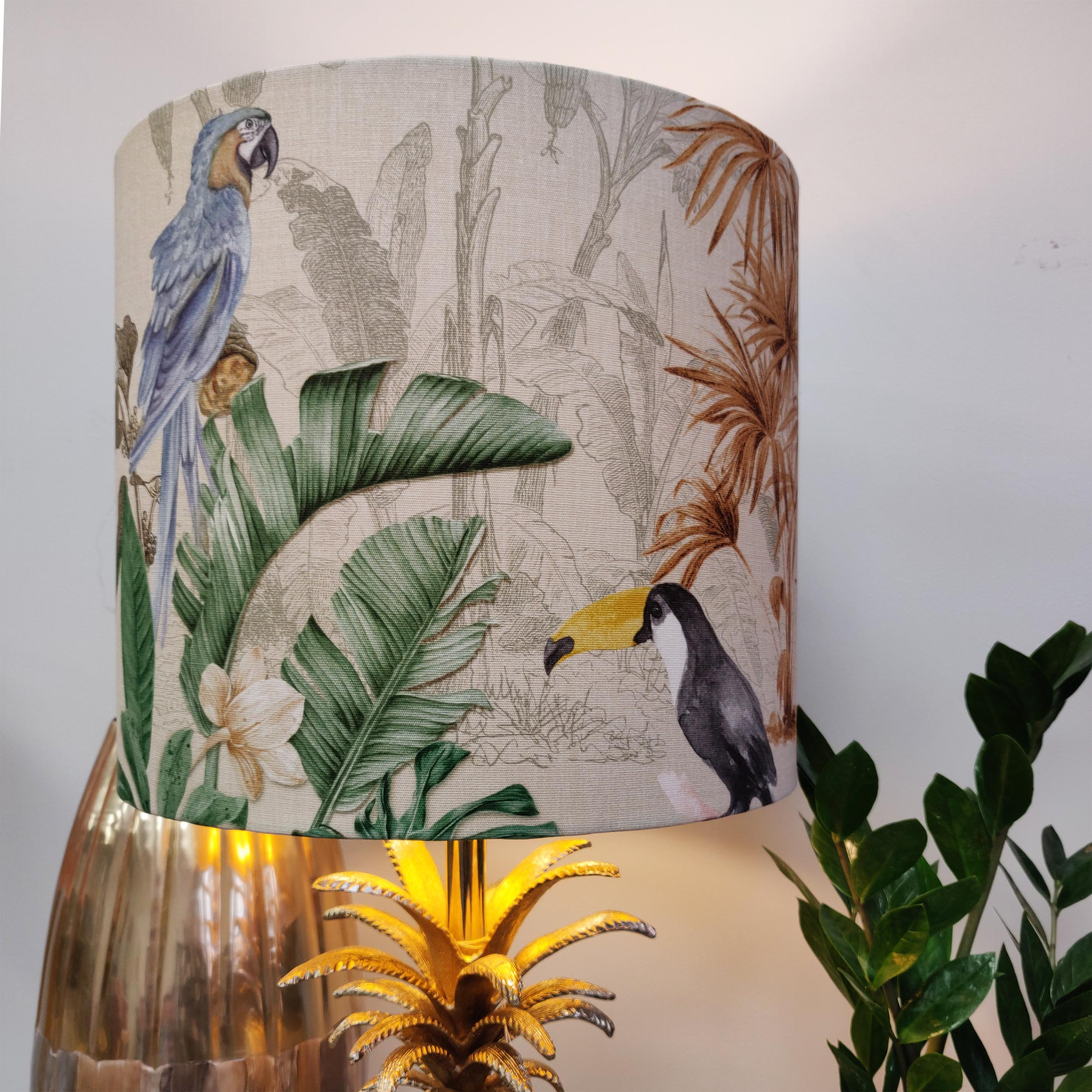 Natural Tropical Lampshade with Parrots