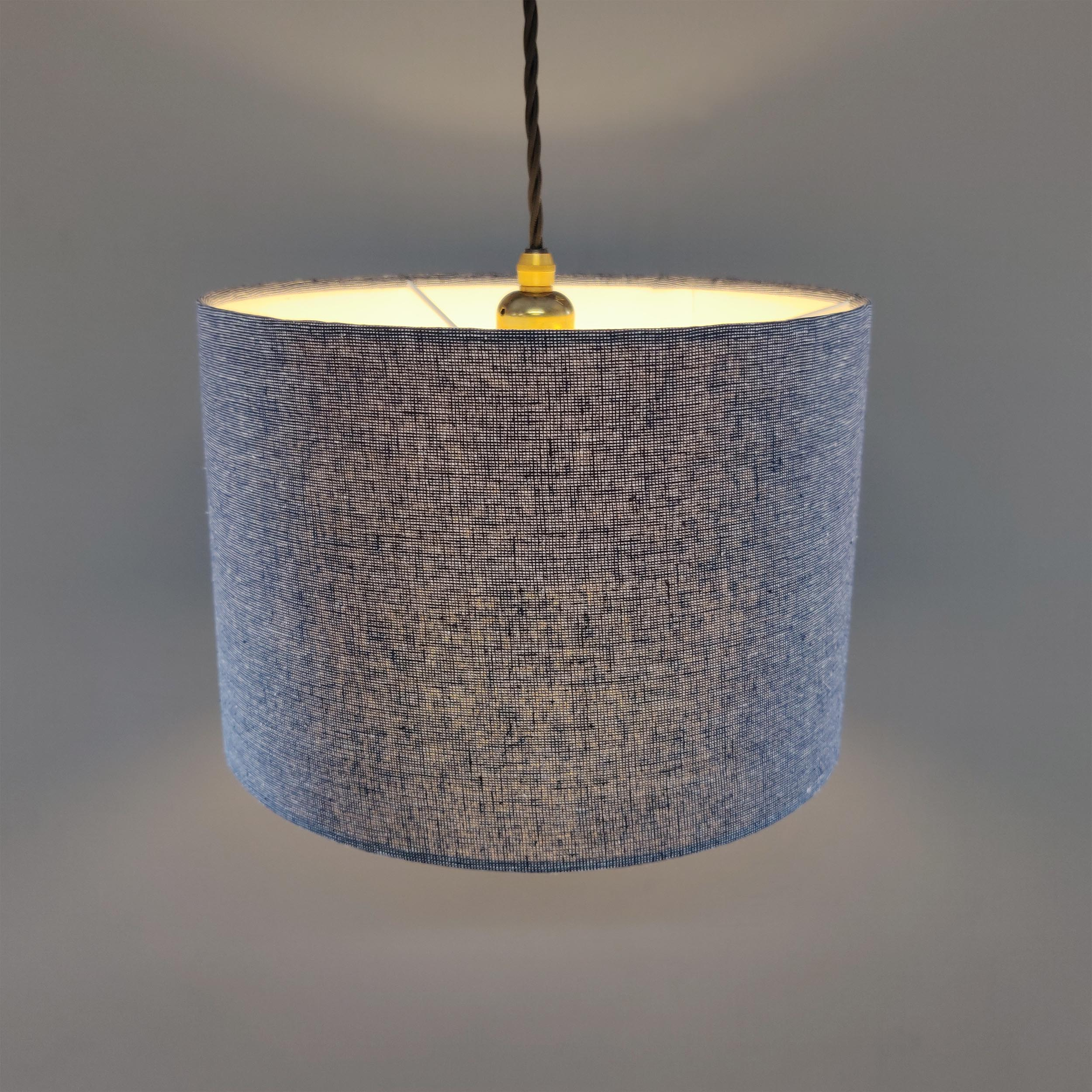 Woven blue Linen Look Fabric Lampshade