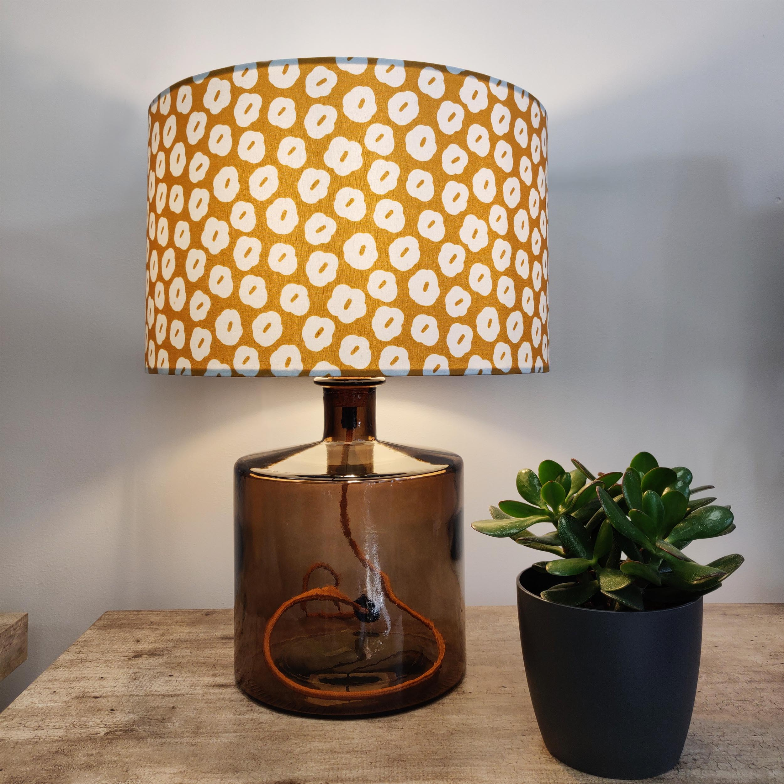 Mustard Cotton Lampshade with Flowers