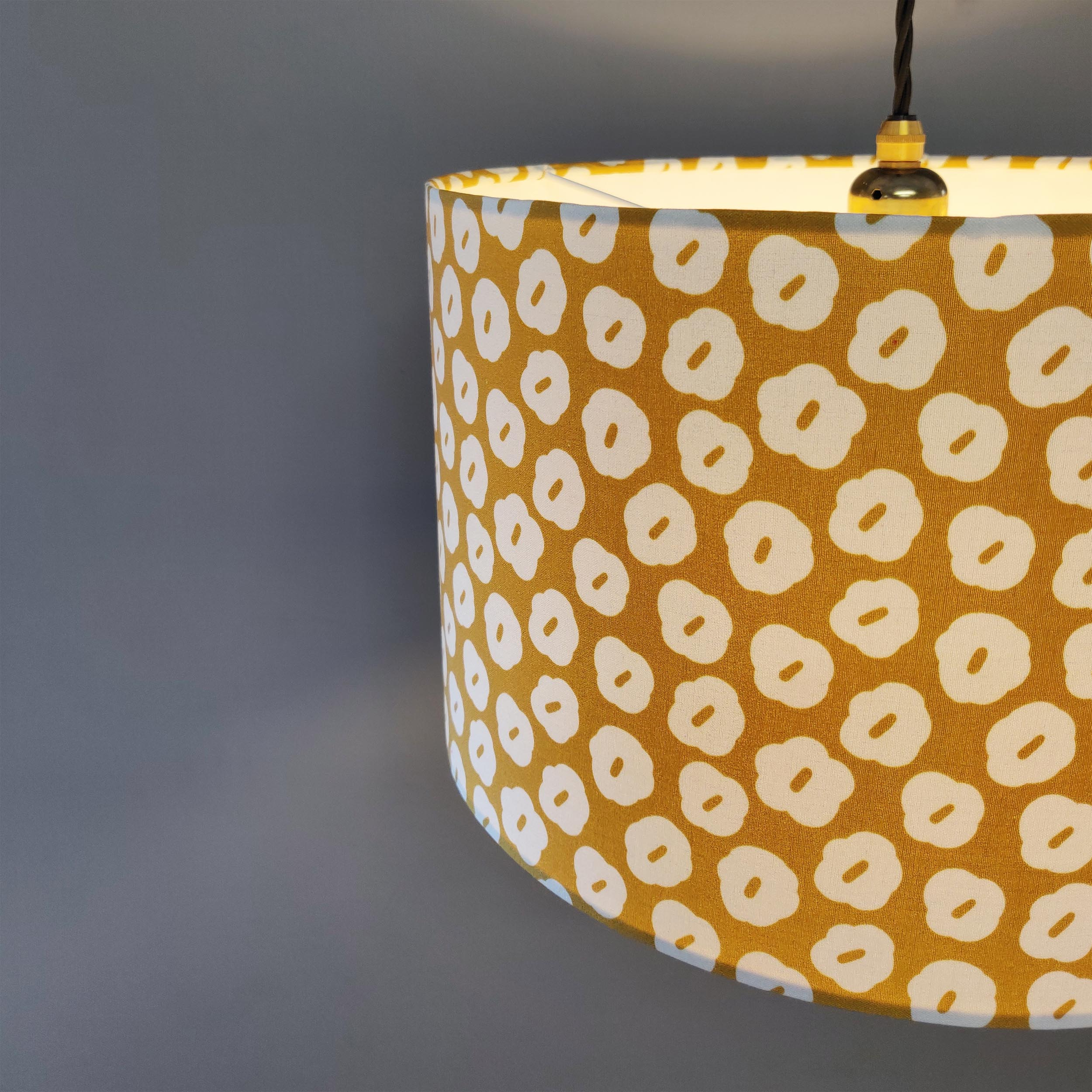 Mustard Yellow Lampshade with White Flower Design