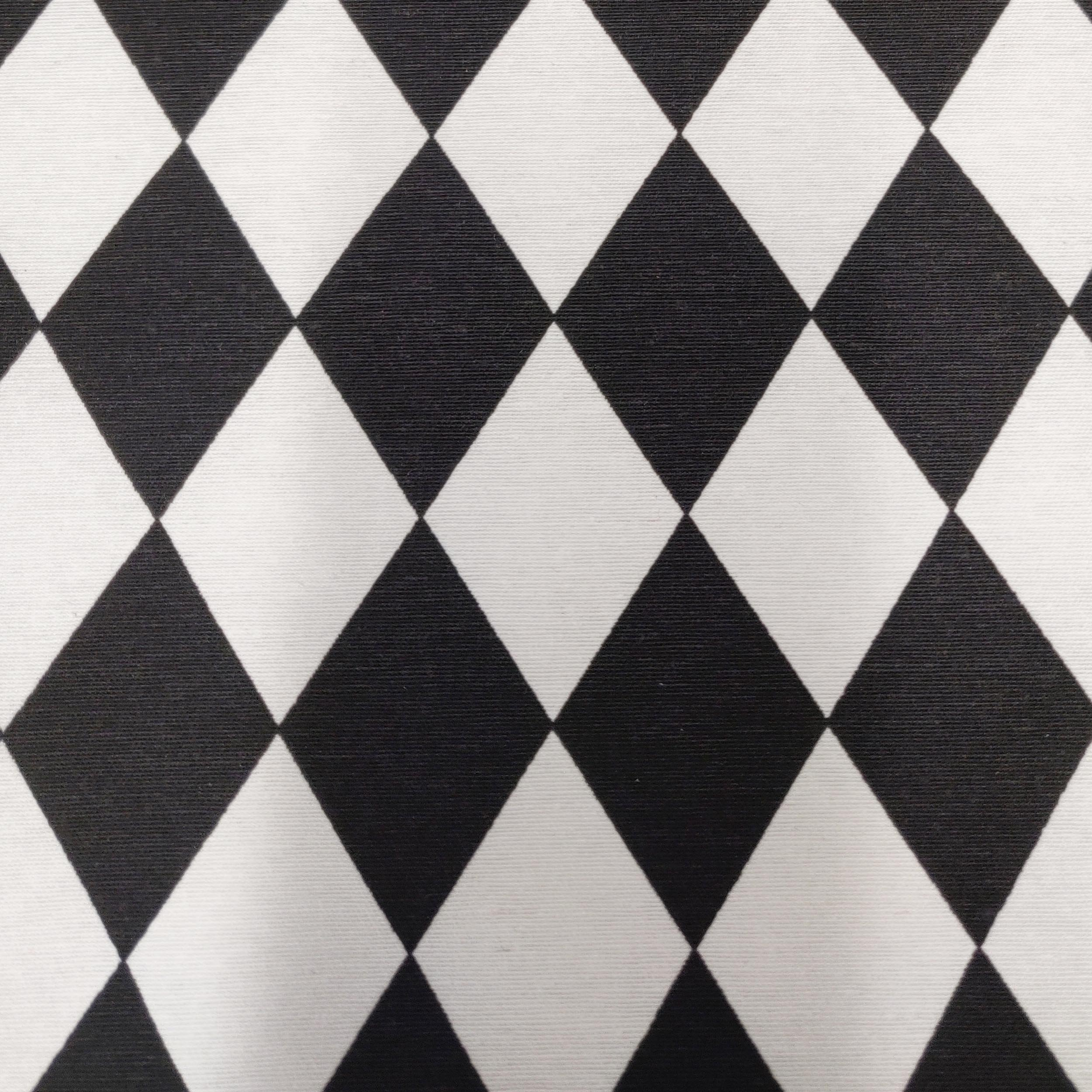 Black and White Chequered Fabric, By the Half or Full Metre