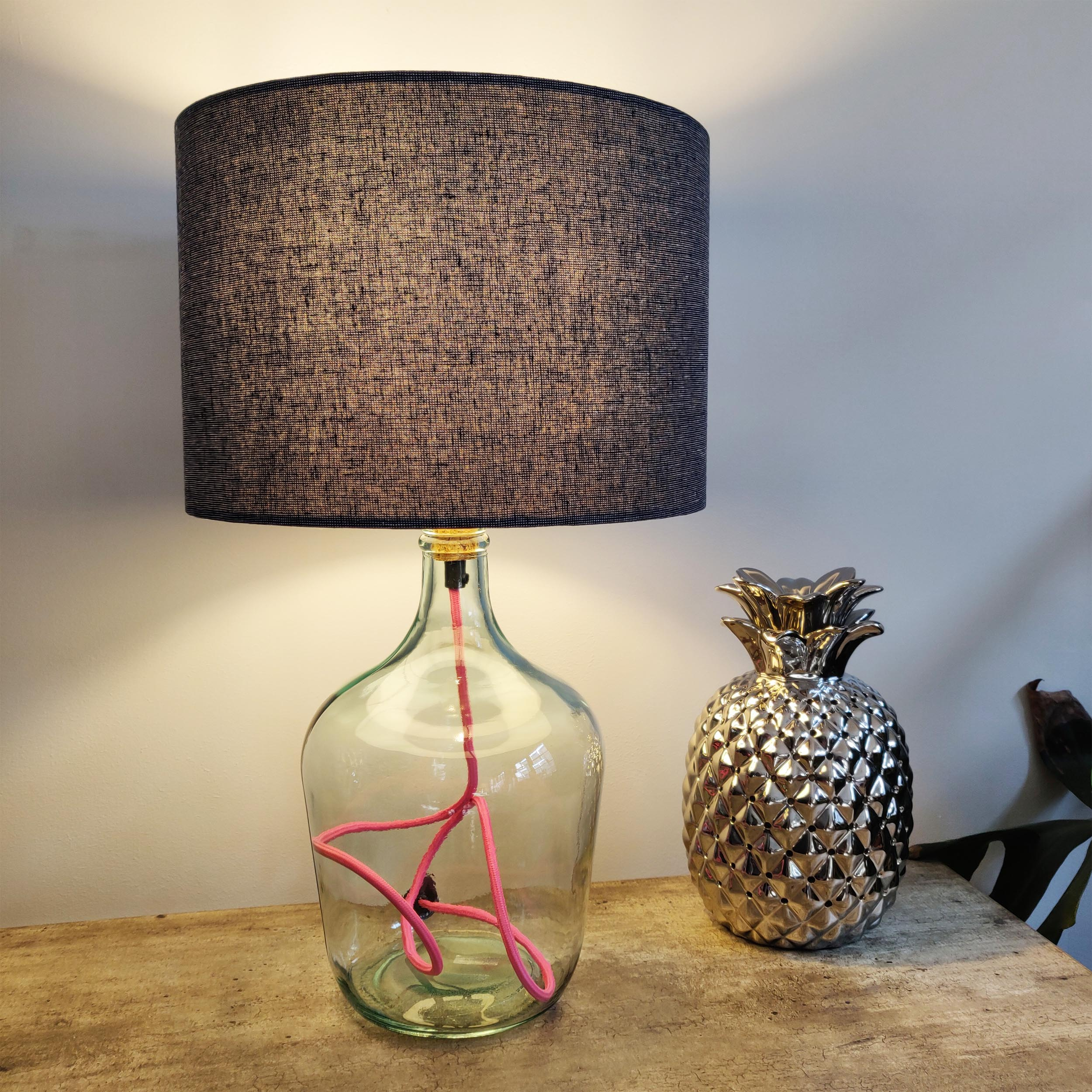 Clear Glass Bottle Lamp, recycled with Pink Flex Cable