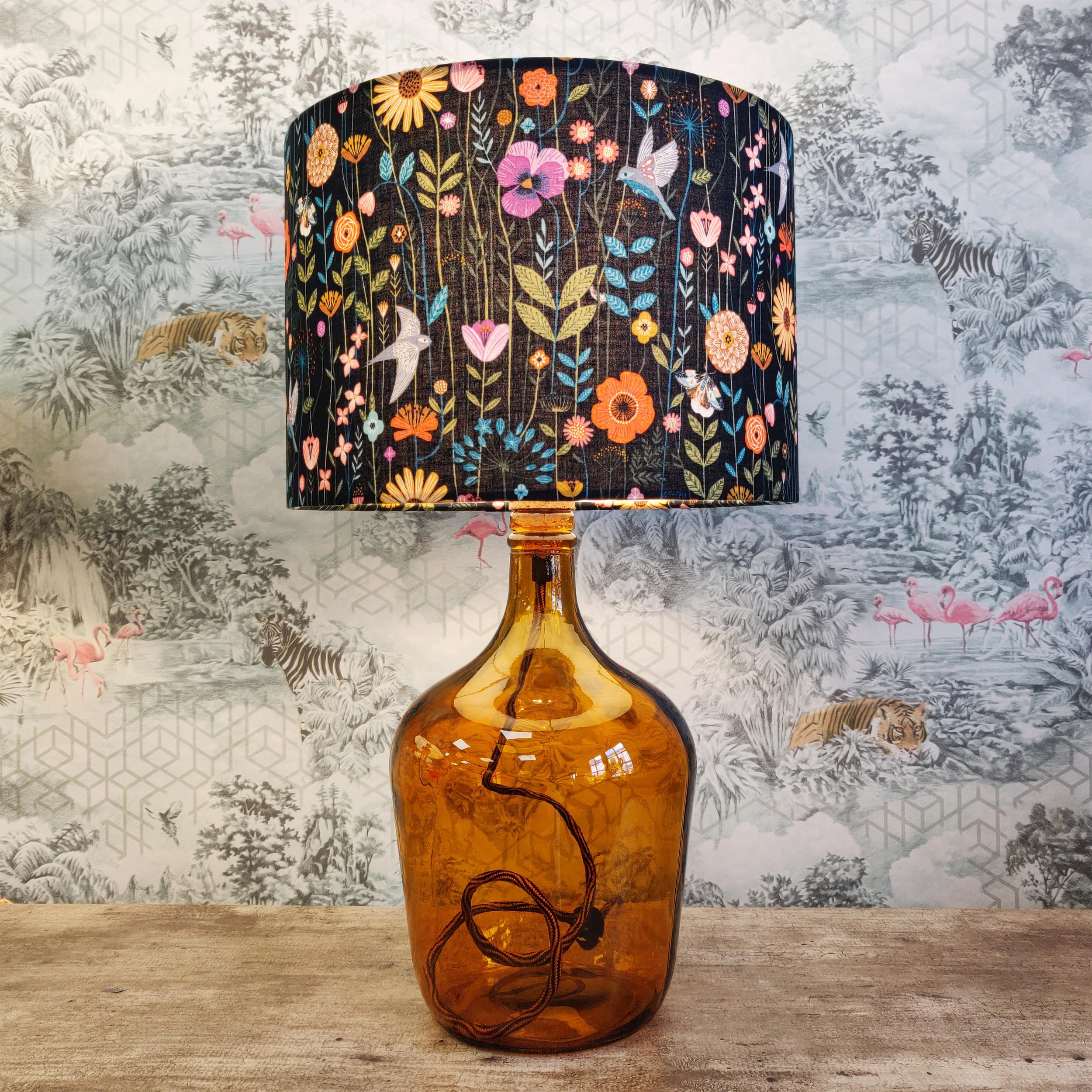 Demijohn Glass Lamp in Amber with Floral Lampshade