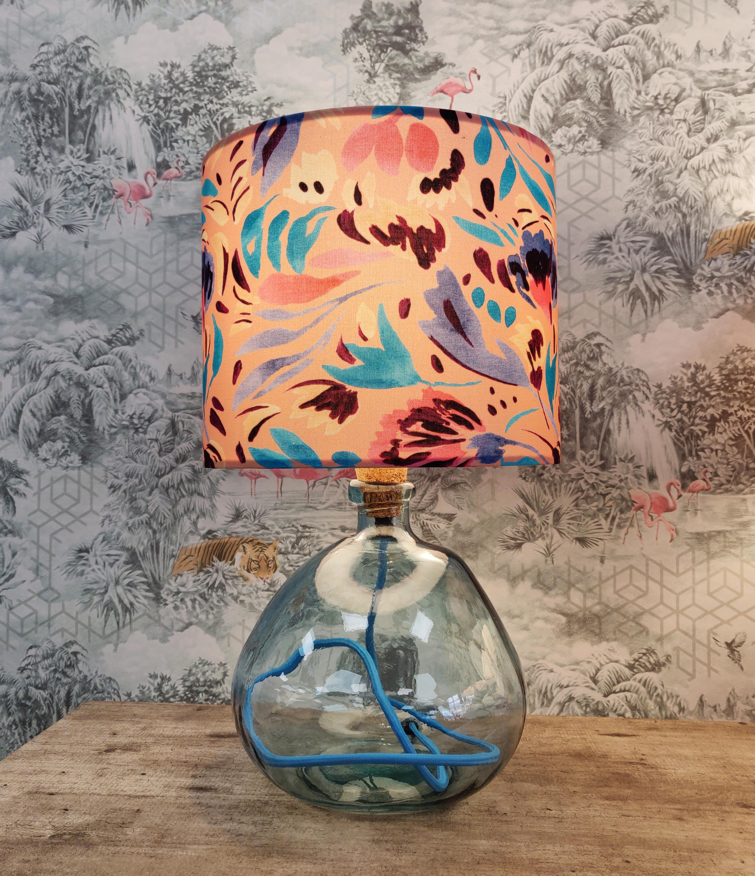 Blue Glass Table lamp with Floral Lampshade