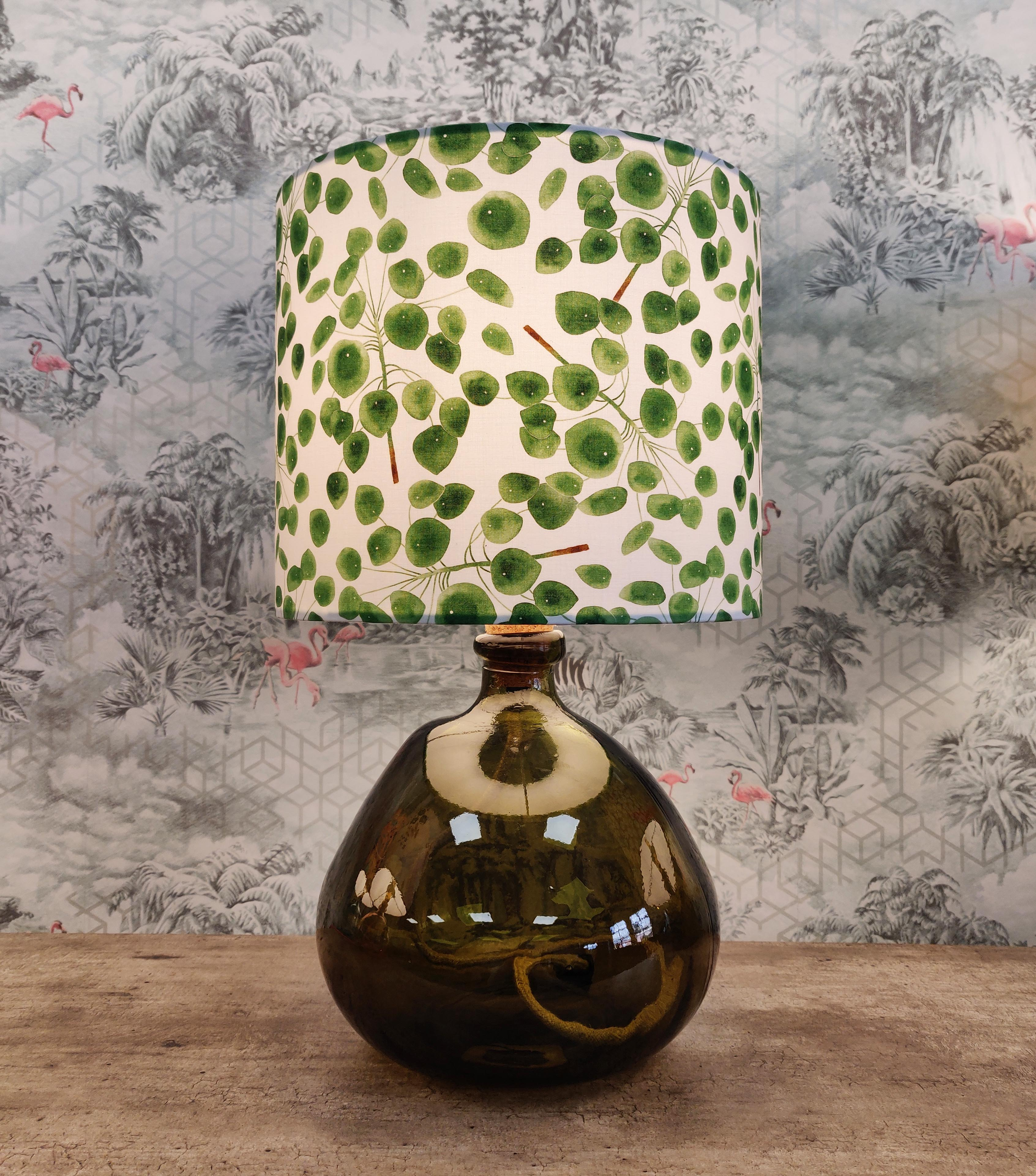 Recycled Glass Table Lamp with Eucalyptus Lampshade