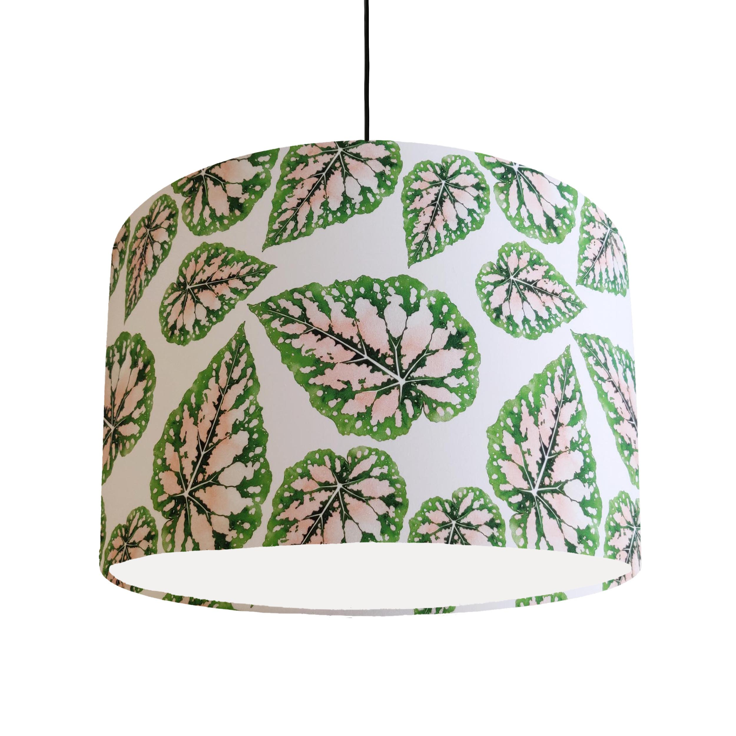 Pink and Green Leaves Lampshade