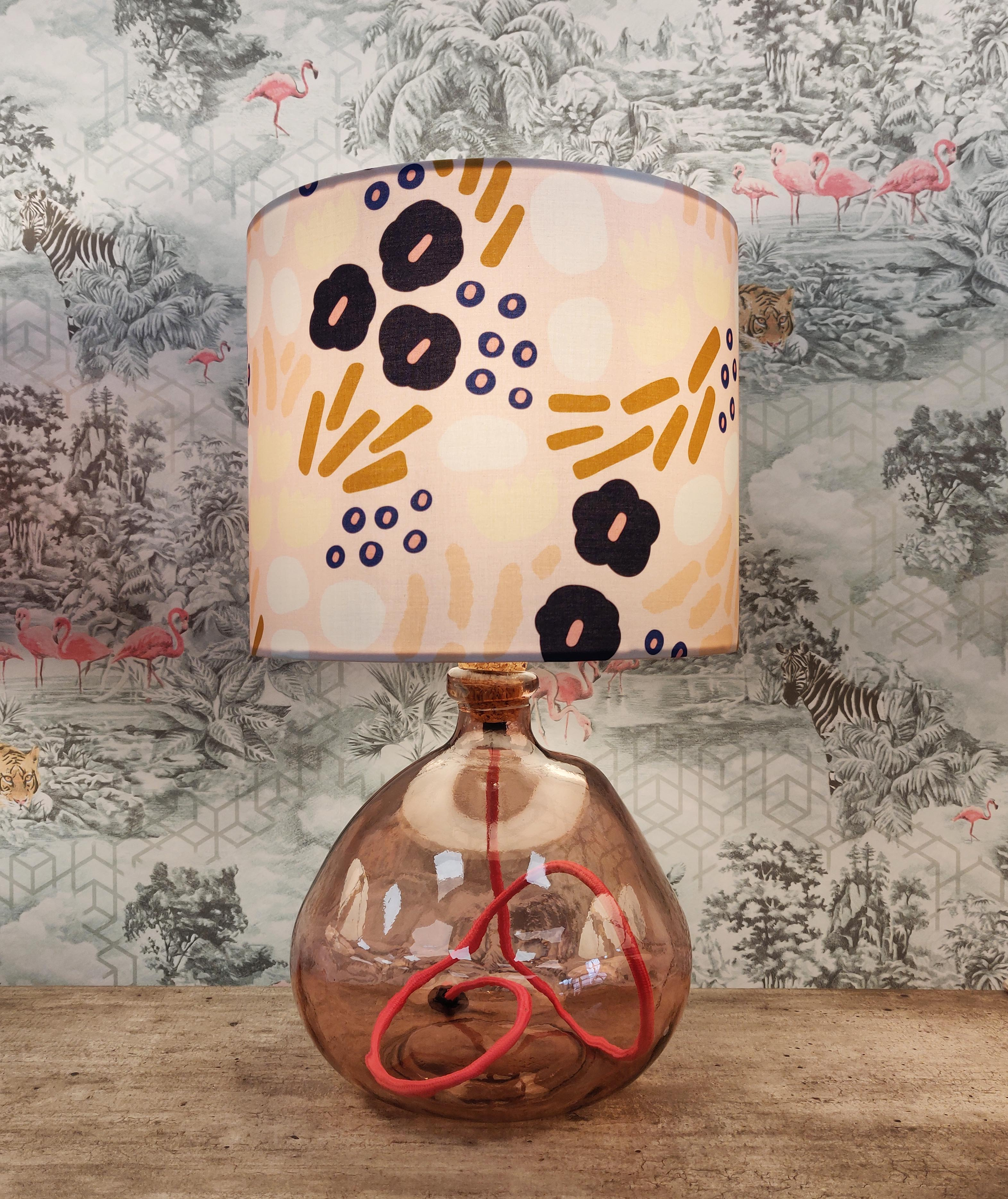 Pink Flowers Lampshade with Pink Glass Lamp