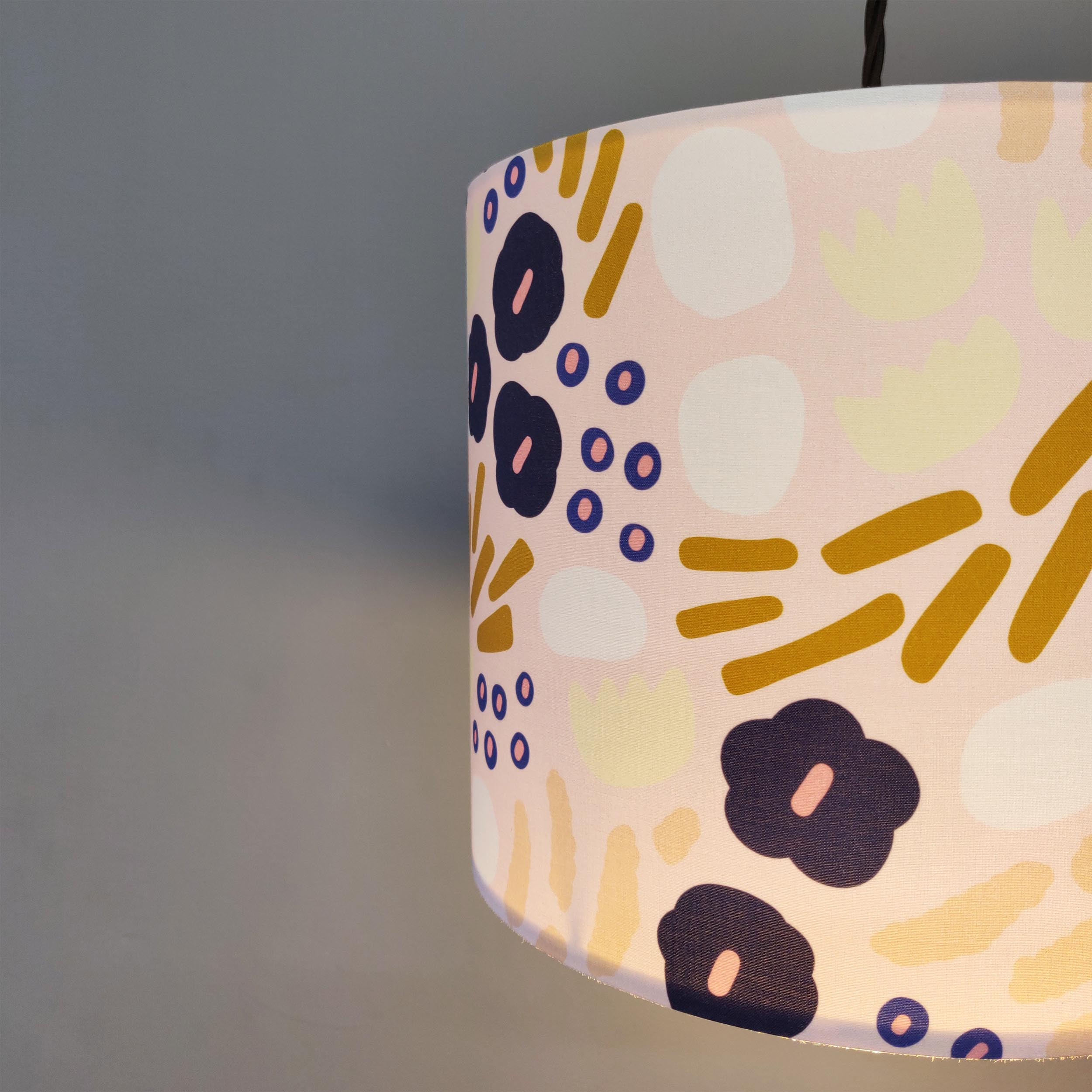 Pink and Gold Floral Lampshade