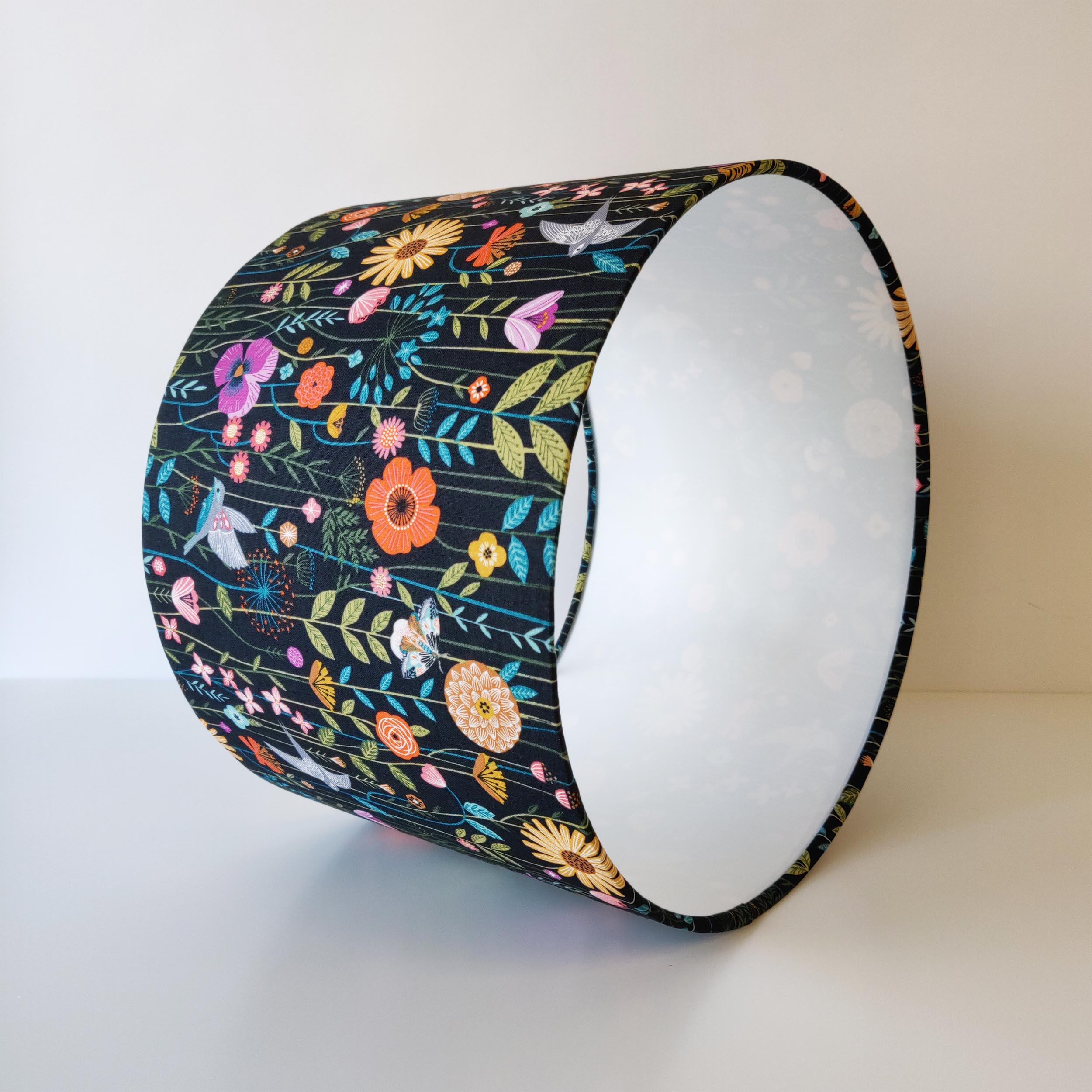 Green Birds and Flowers Lampshade with White Lining