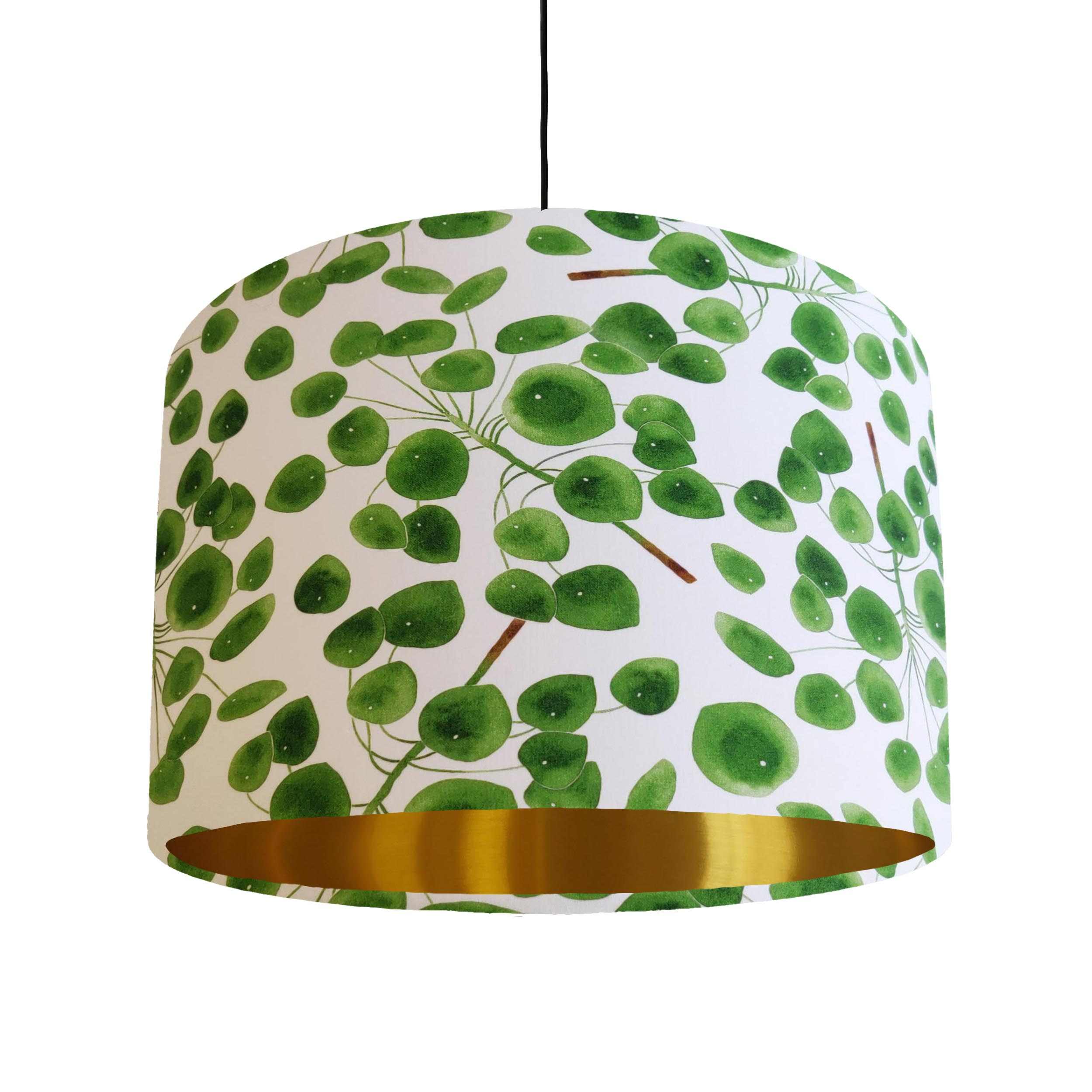 Eucalyptus Leaves Lampshade in Green and White Cotton with Gold Lining