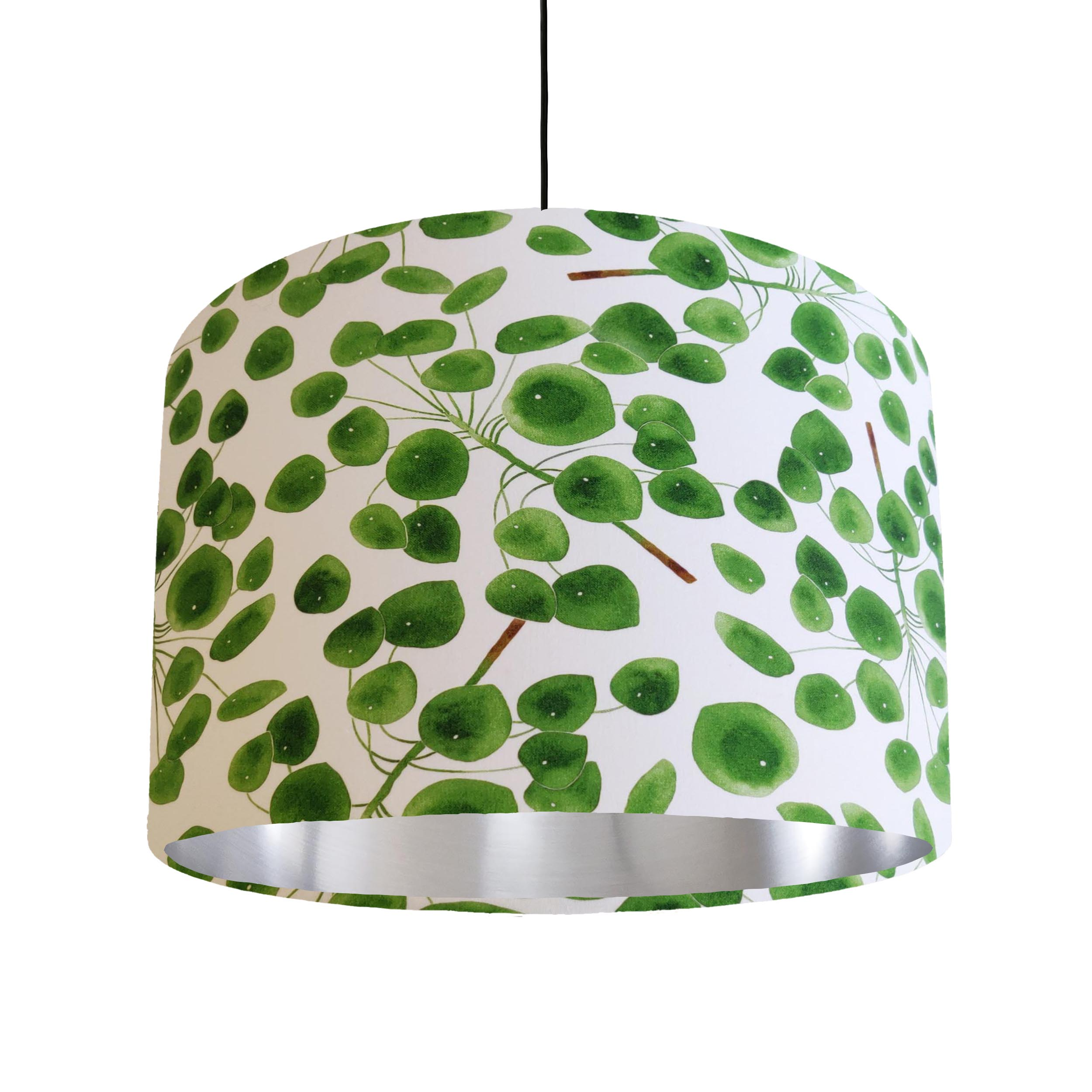 Eucalyptus Leaves Lampshade in Green and White Cotton with Silver Lining