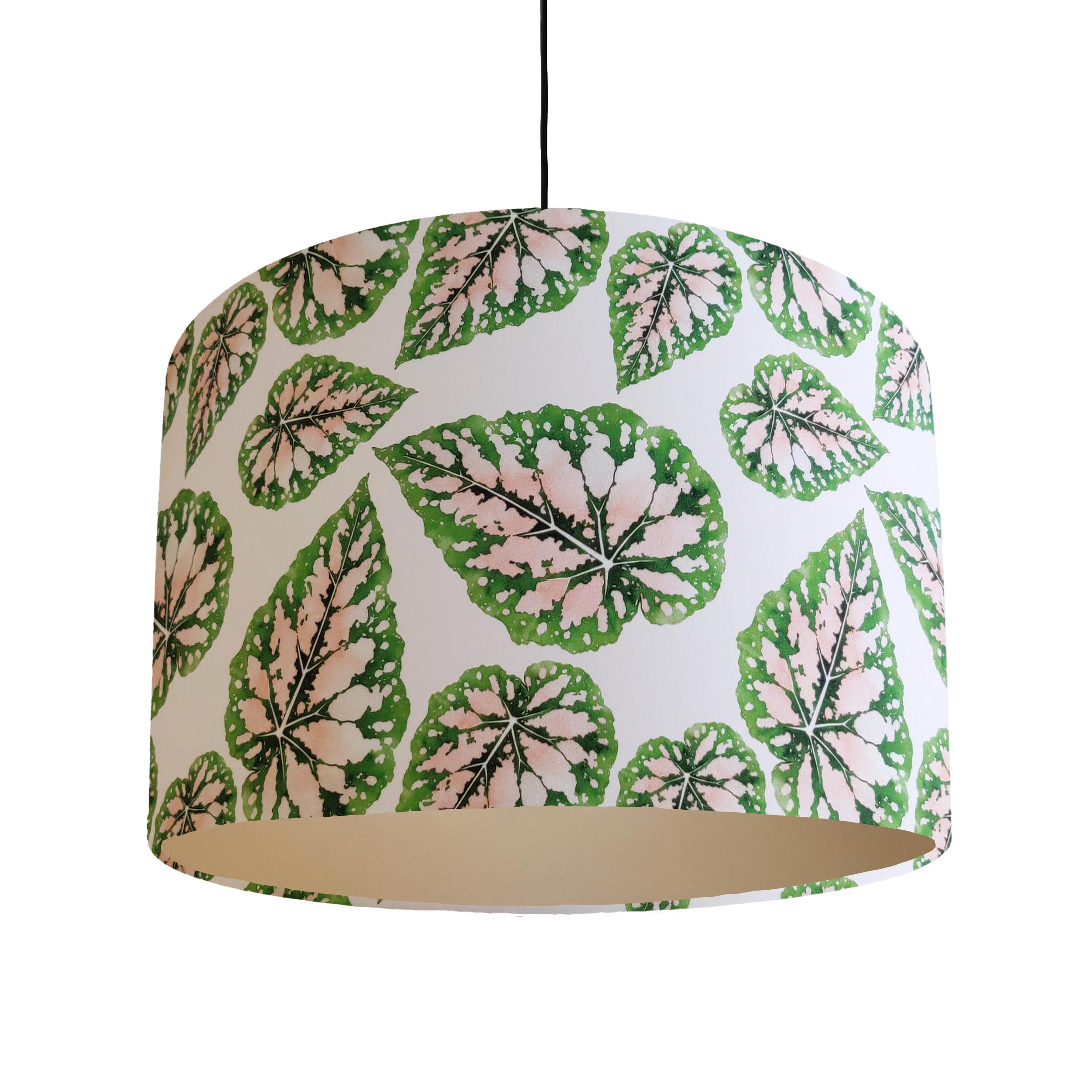 Pink and Green Botanical Leaves Lampshade with Champagne Lining