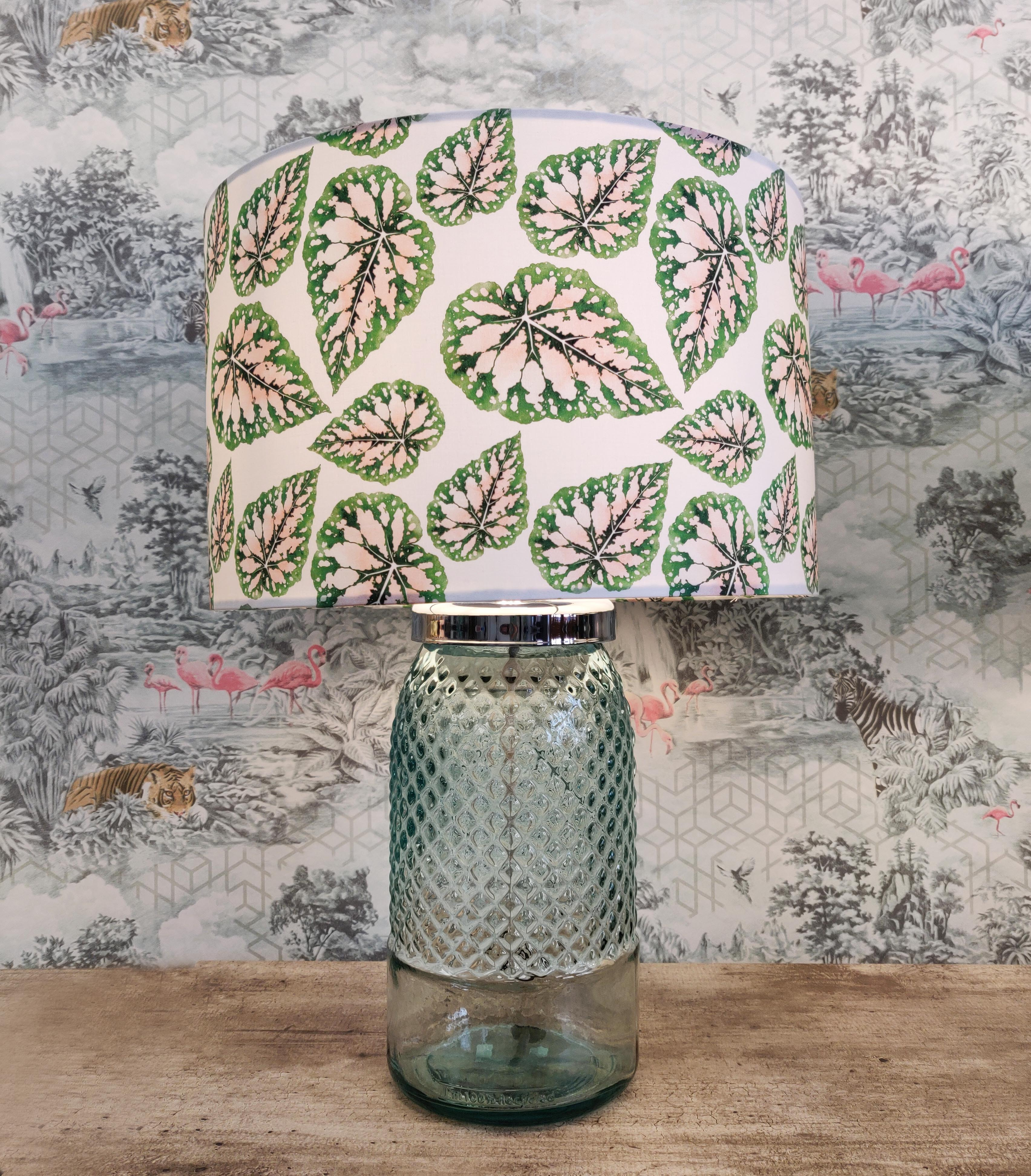 Green Leaves Lampshade with Pink Detailing