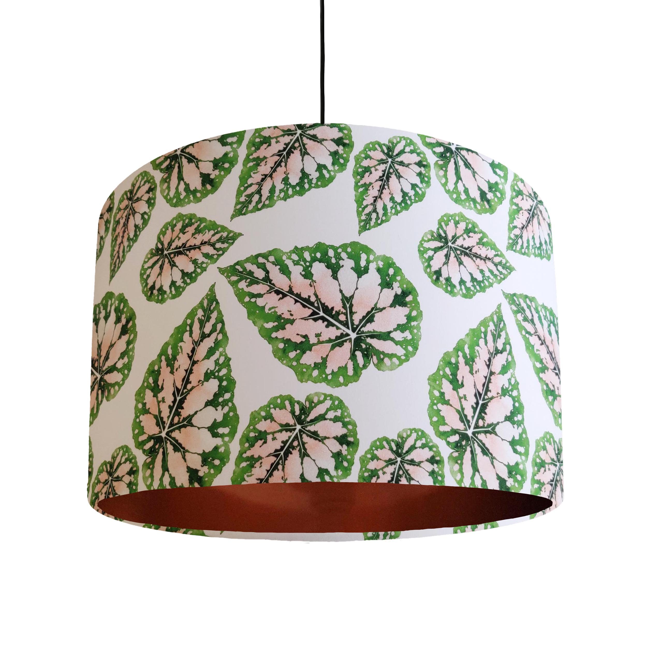 Pink and Green Leaves Lamp Shade with Copper Liner
