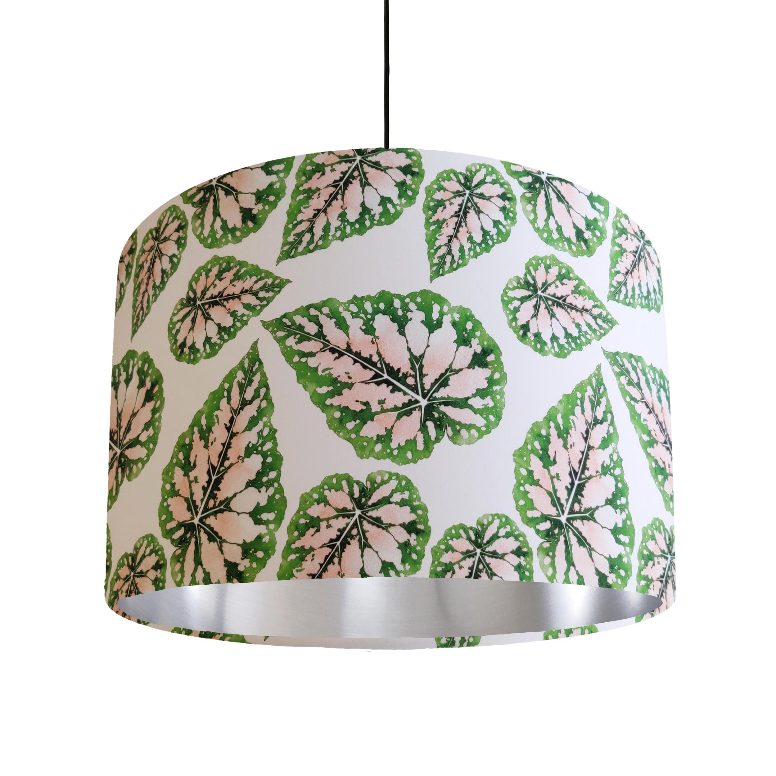 Pink and Green Leaves Lamp Shade with Silver Liner